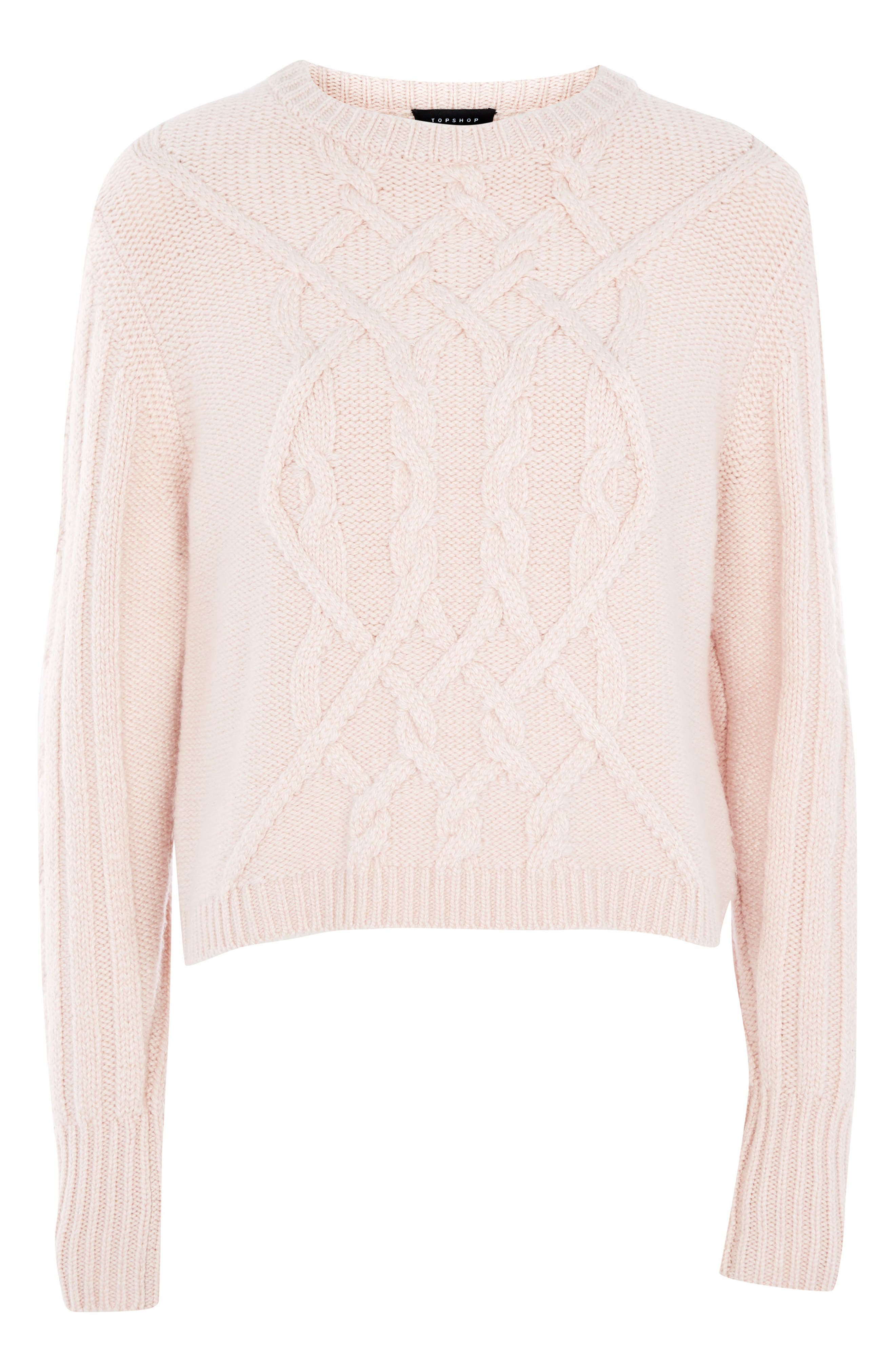 Cable Knit Sweater,                         Main,                         color, Pink
