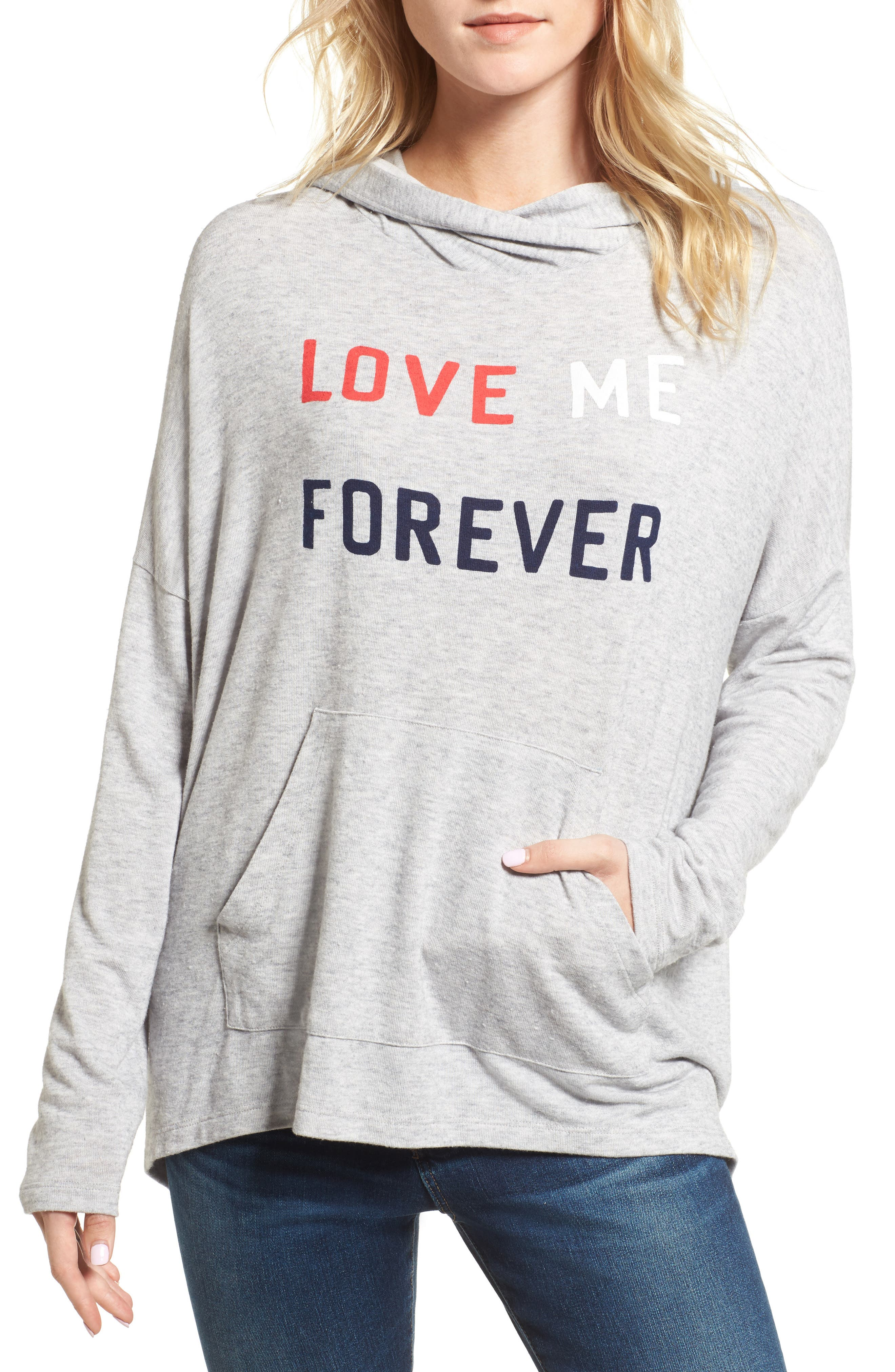 Love Me Forever Hoodie,                         Main,                         color, Heather Grey