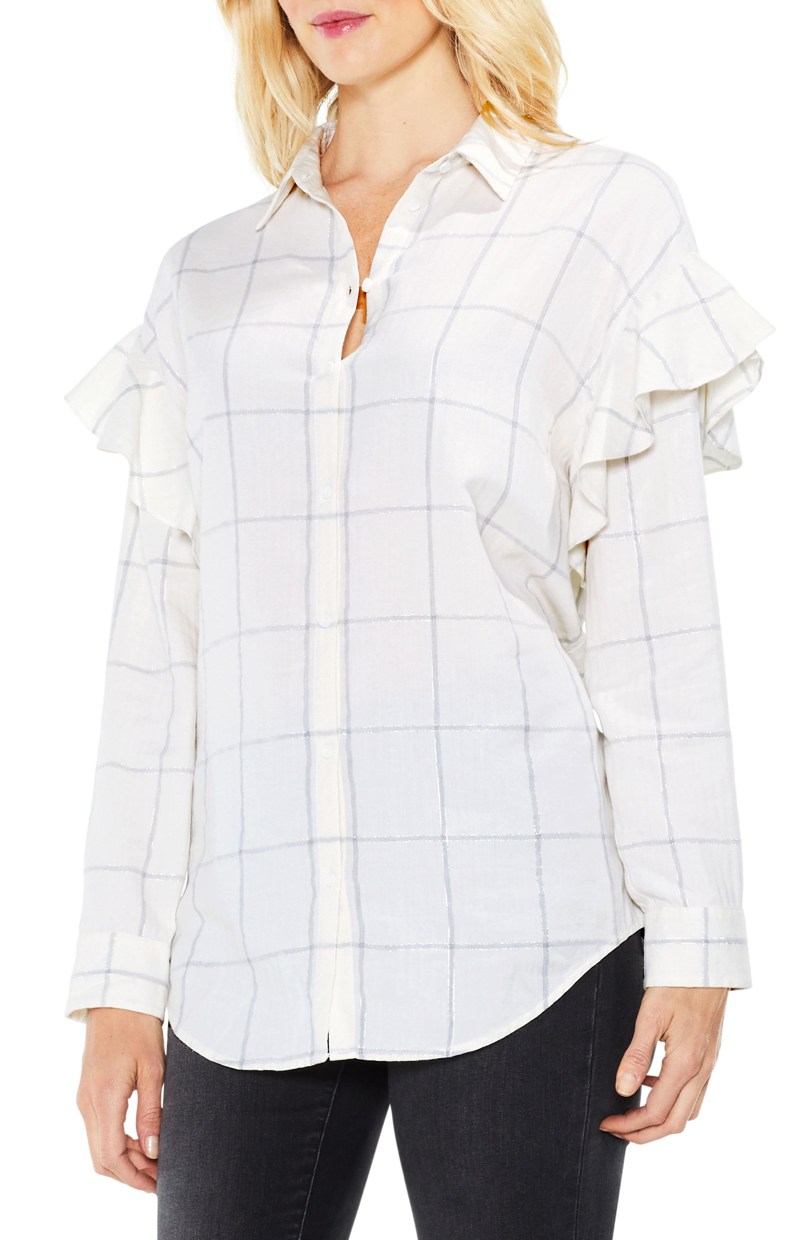 Main Image - Two by Vince Camuto Ruffle Shoulder Windowpane Plaid Top
