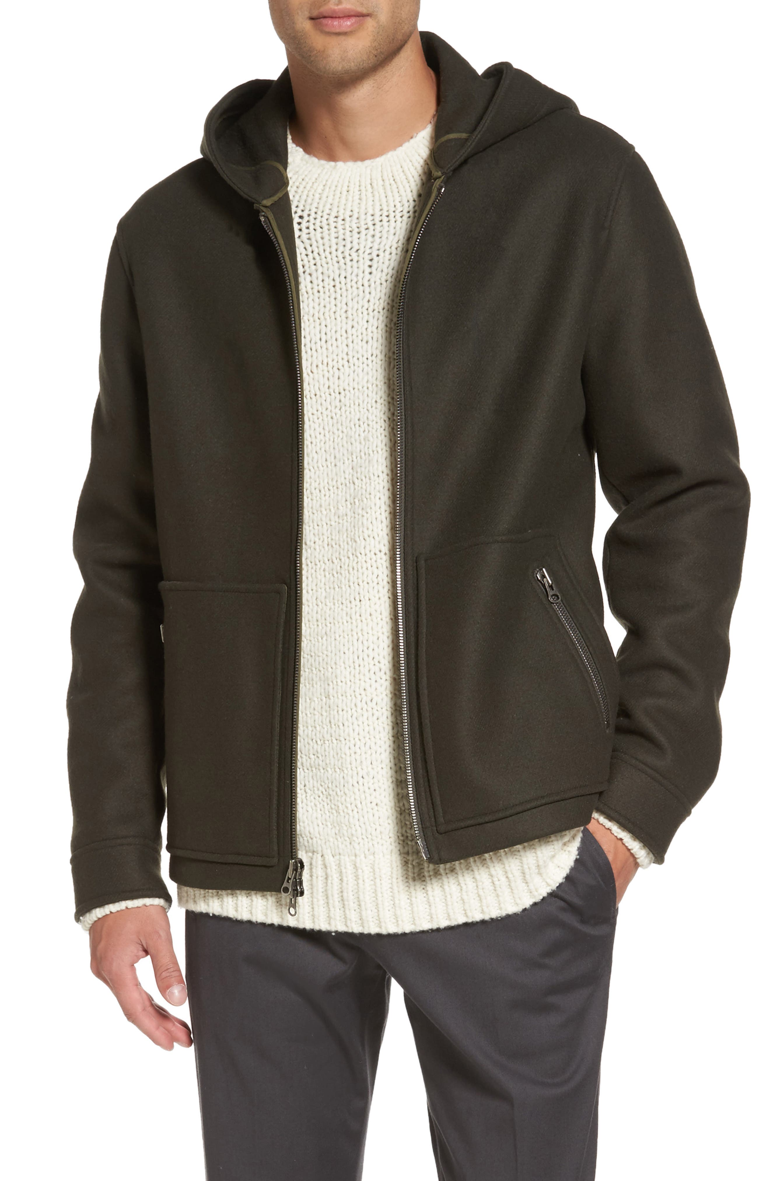 Fleece Zip Hoodie,                         Main,                         color, Olive