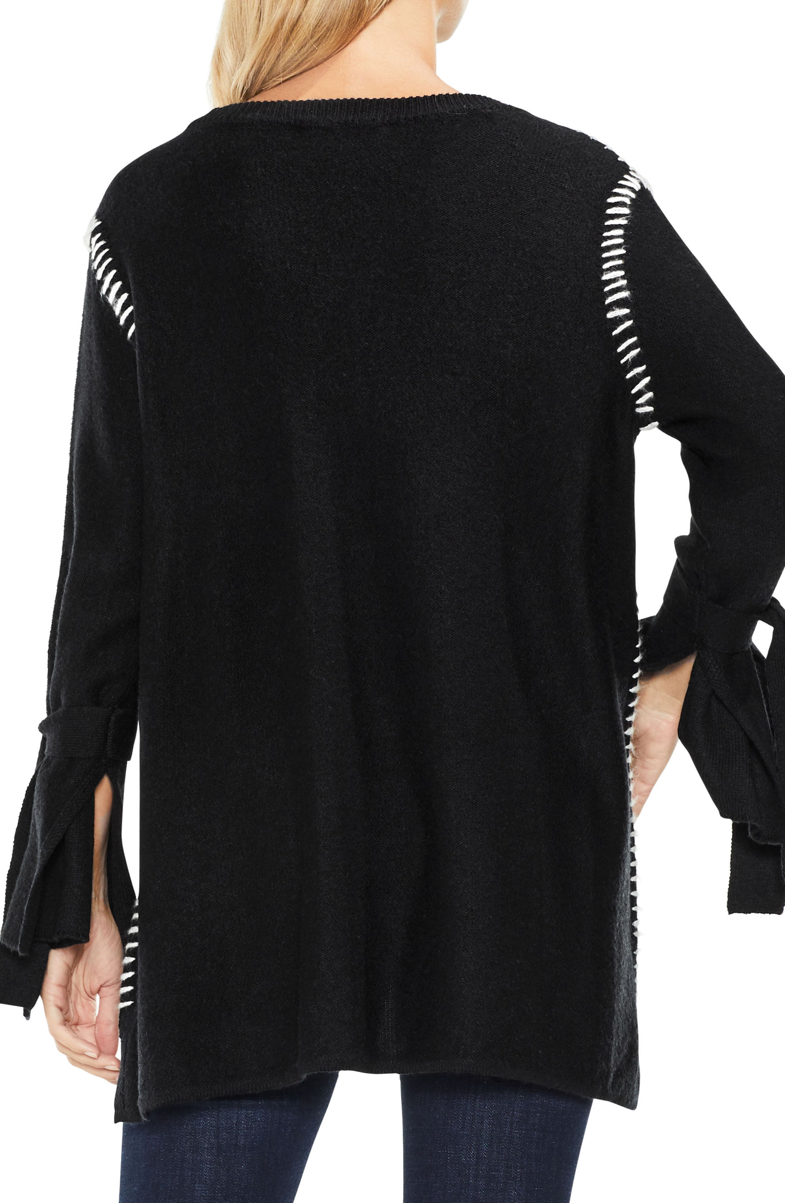 Tie Sleeve Sweater,                             Alternate thumbnail 3, color,                             Rich Black