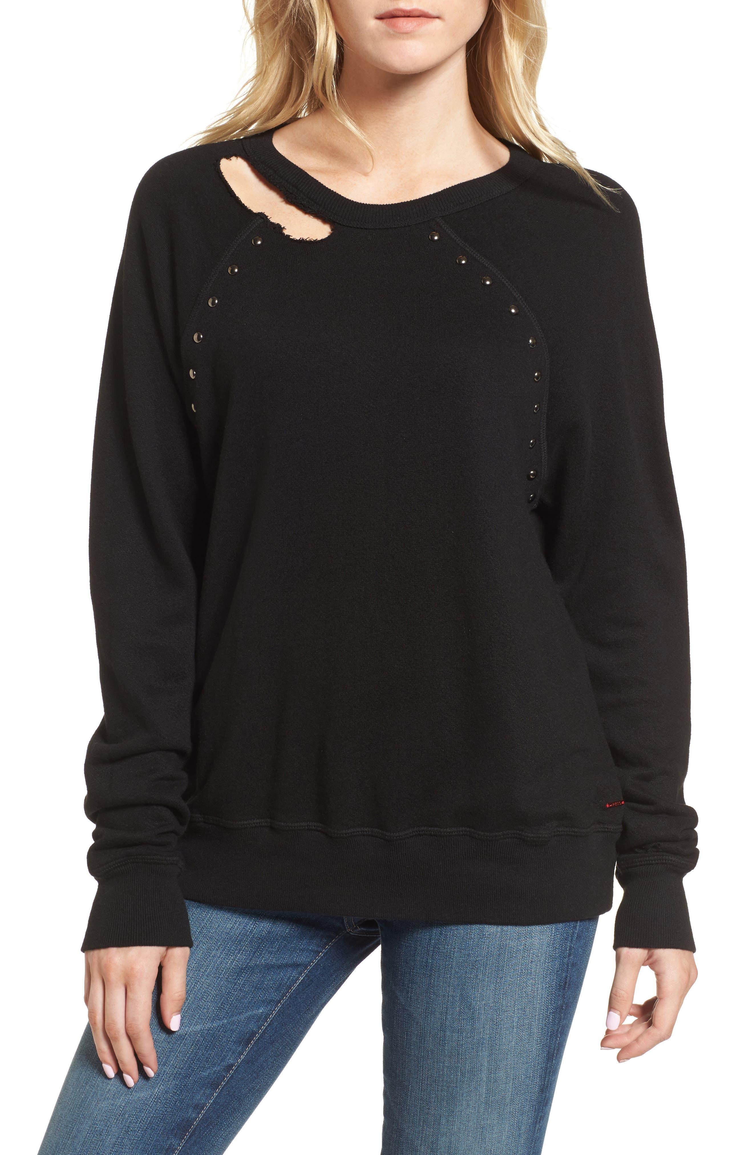 Nic Studded Sweatshirt,                         Main,                         color, Black Cat