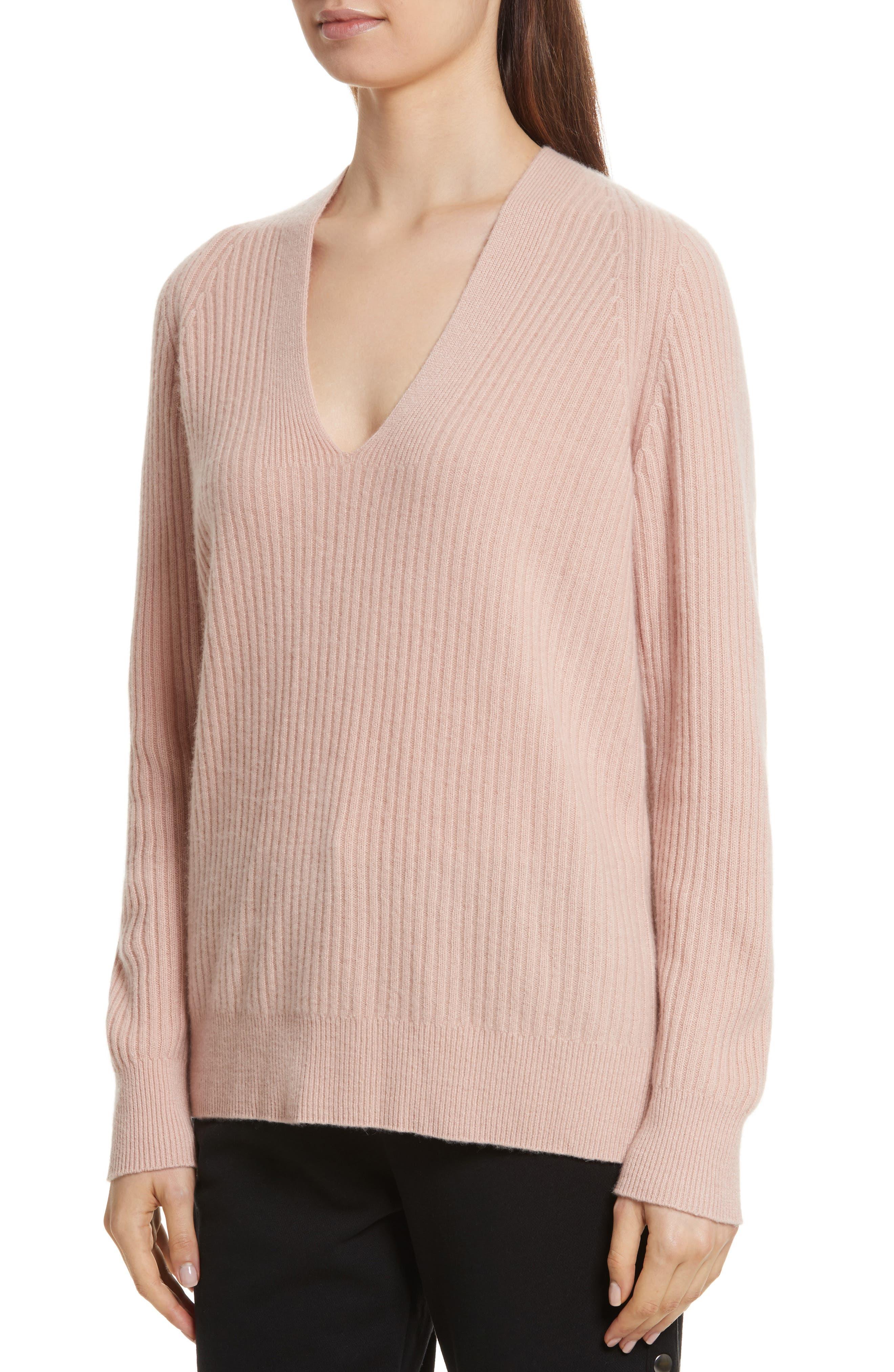 Wool Blend Raglan V-Neck Sweater,                             Alternate thumbnail 4, color,                             Quartz