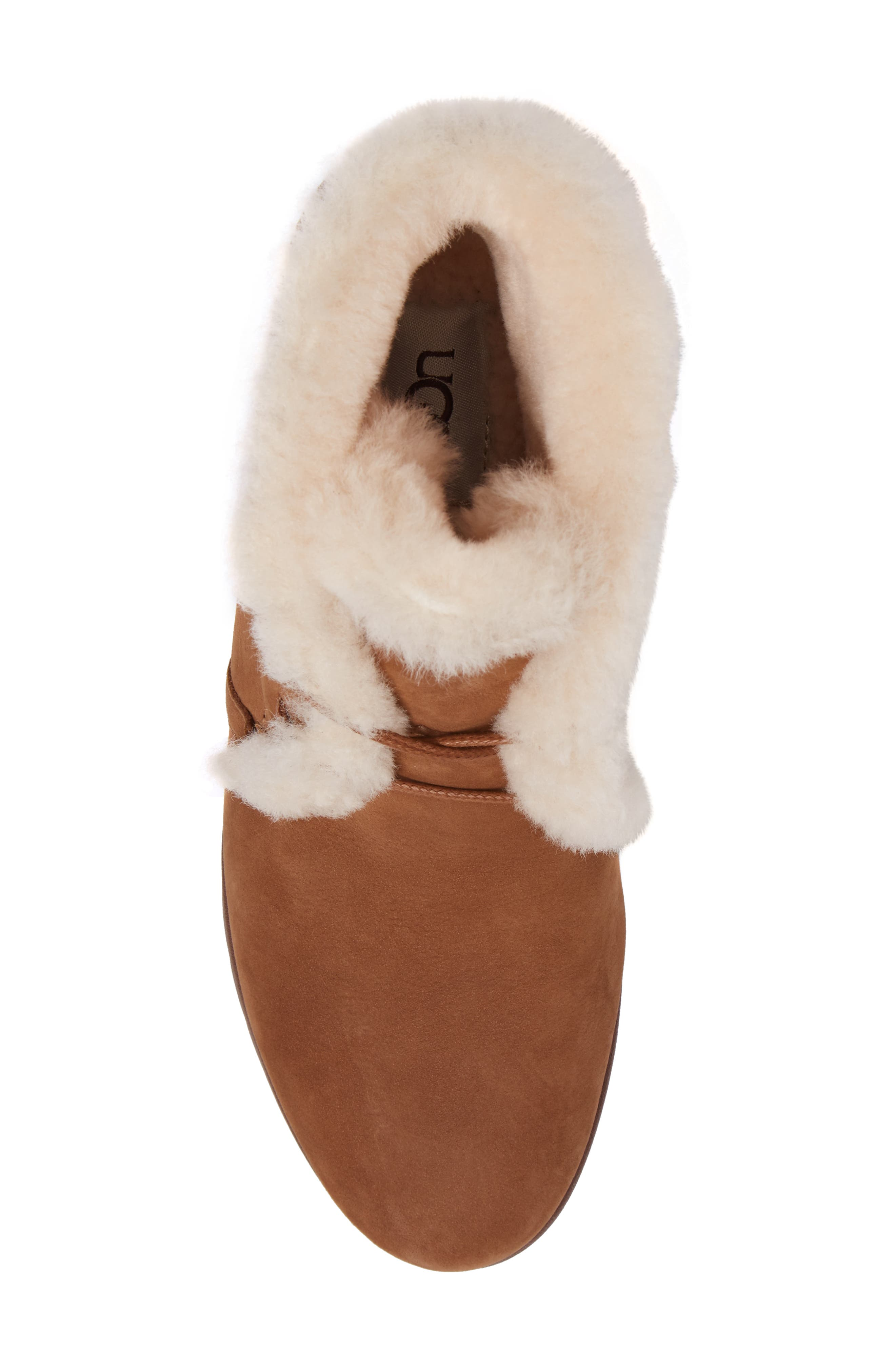 Jeovana Genuine Shearling Lined Boot,                             Alternate thumbnail 5, color,                             Chestnut Suede