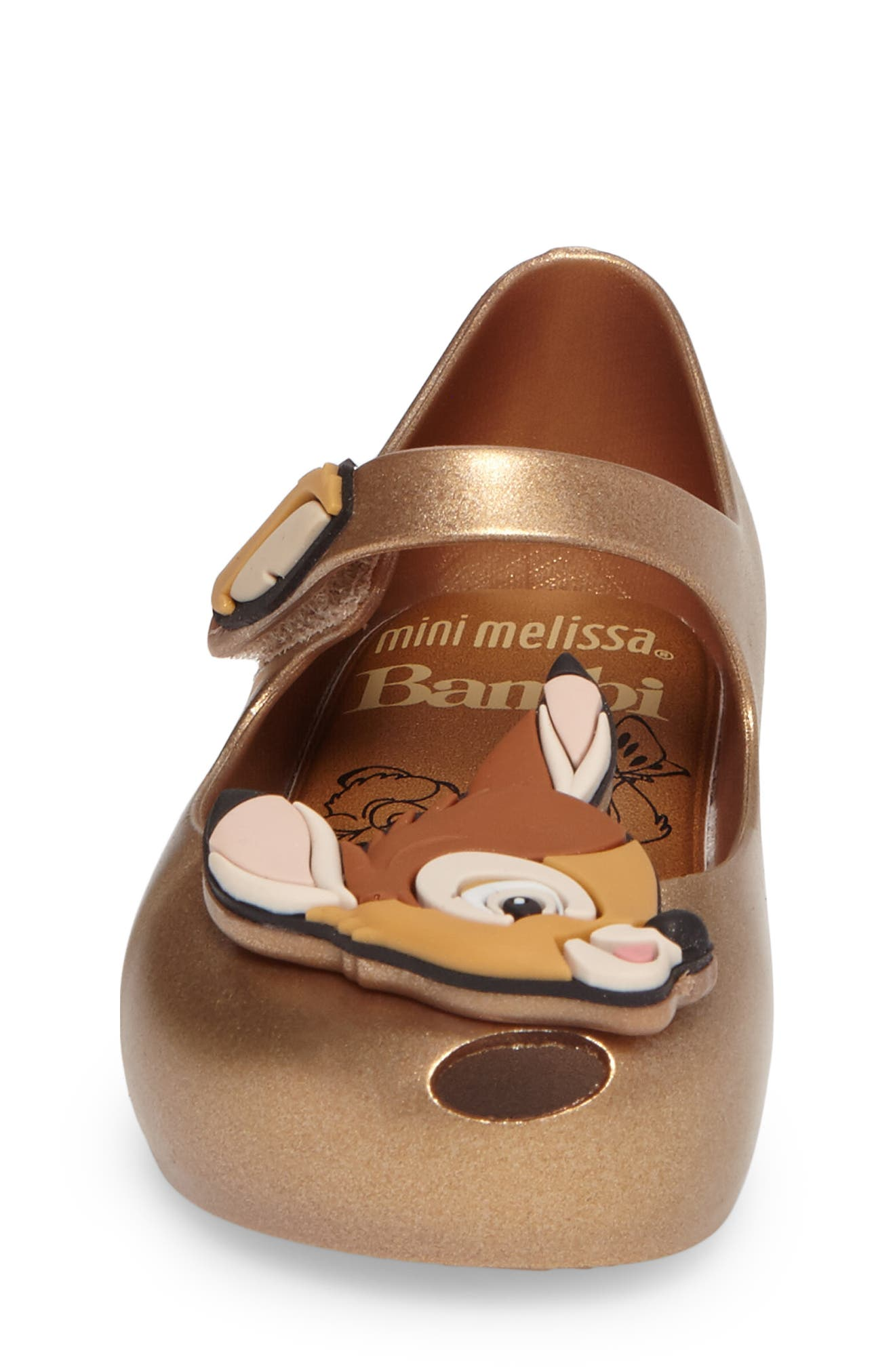 Mini Melissa Ultragirl Disney<sup>®</sup> Bambi Mary Jane Flat,                             Alternate thumbnail 4, color,                             Gold