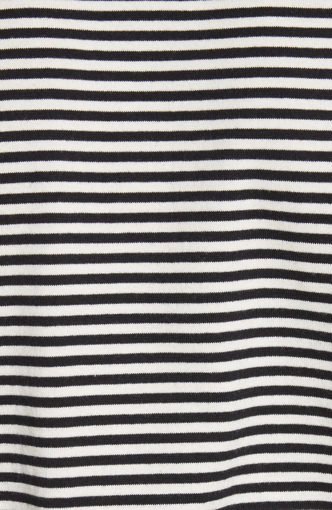 Fringe Stripe Tee,                             Alternate thumbnail 5, color,                             Black/ Ivory