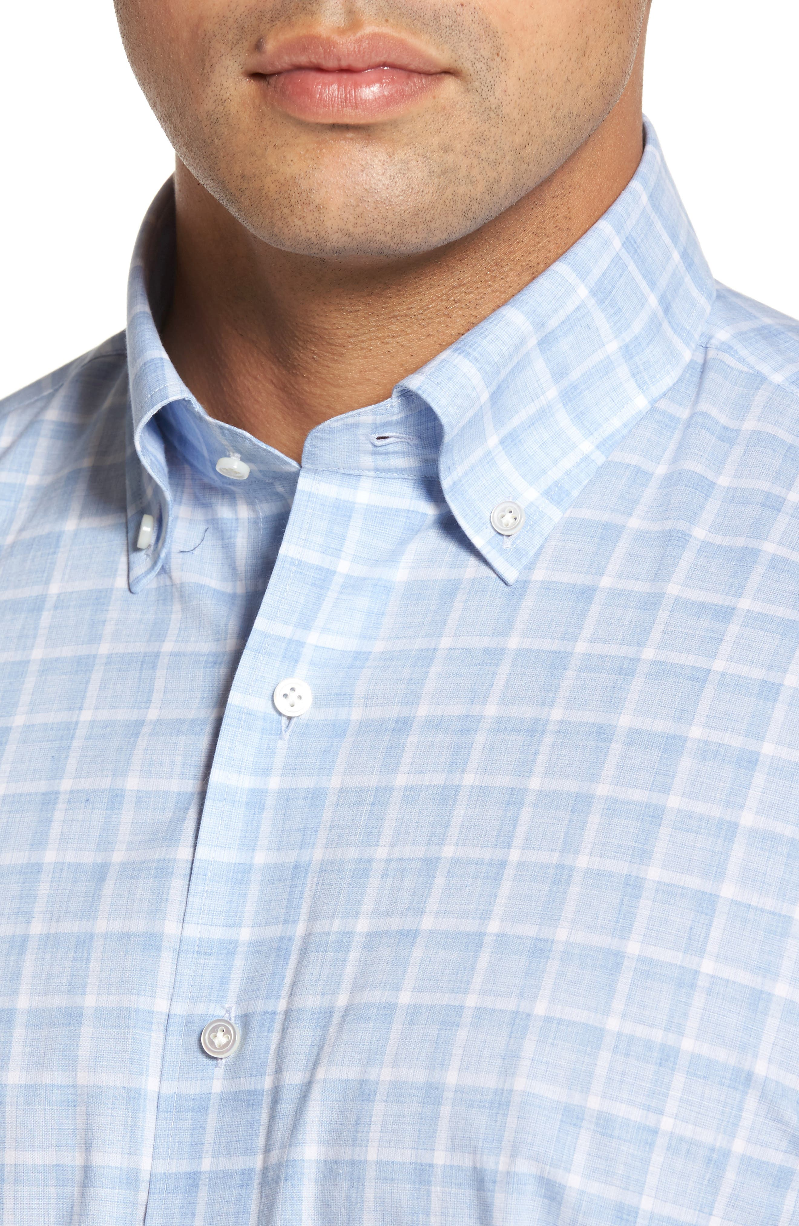 Starry Night Tailored Fit Mélange Check Sport Shirt,                             Alternate thumbnail 4, color,                             Blue Ceillo