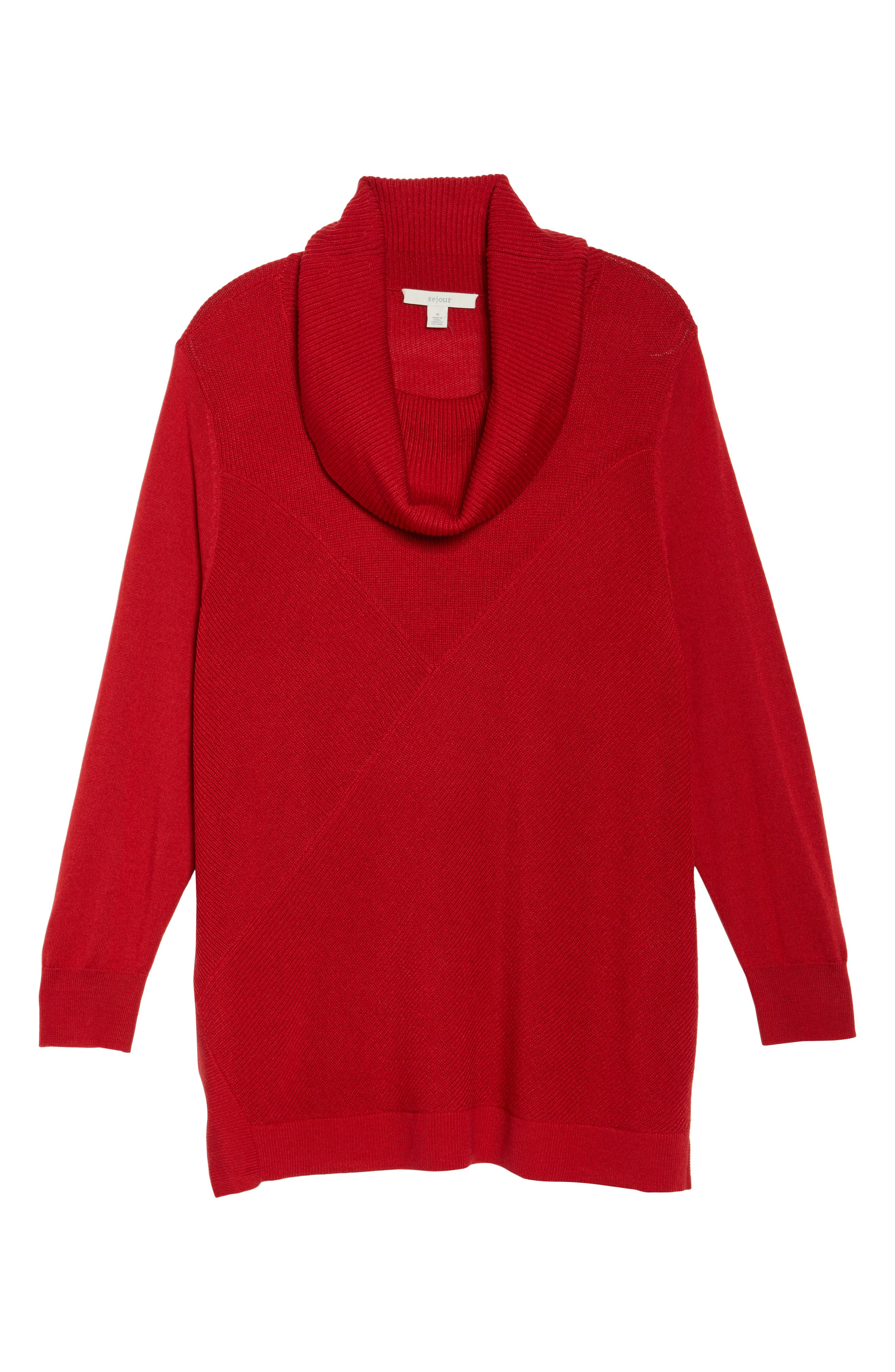 Cowl Neck Ribbed Trim Pullover,                             Alternate thumbnail 6, color,                             Red Sage