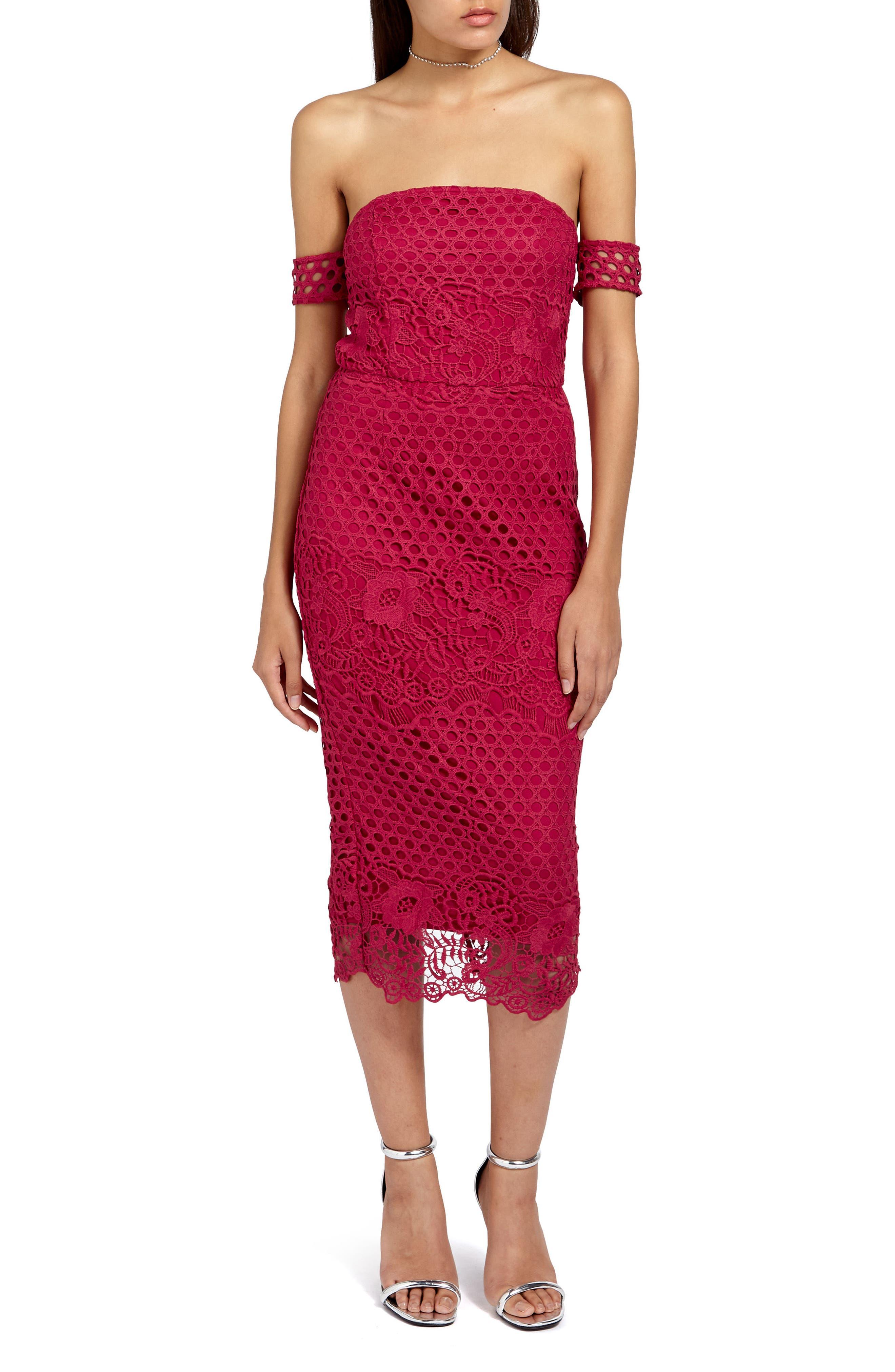 Lace Bardot Body-Con Dress,                         Main,                         color, Burgundy