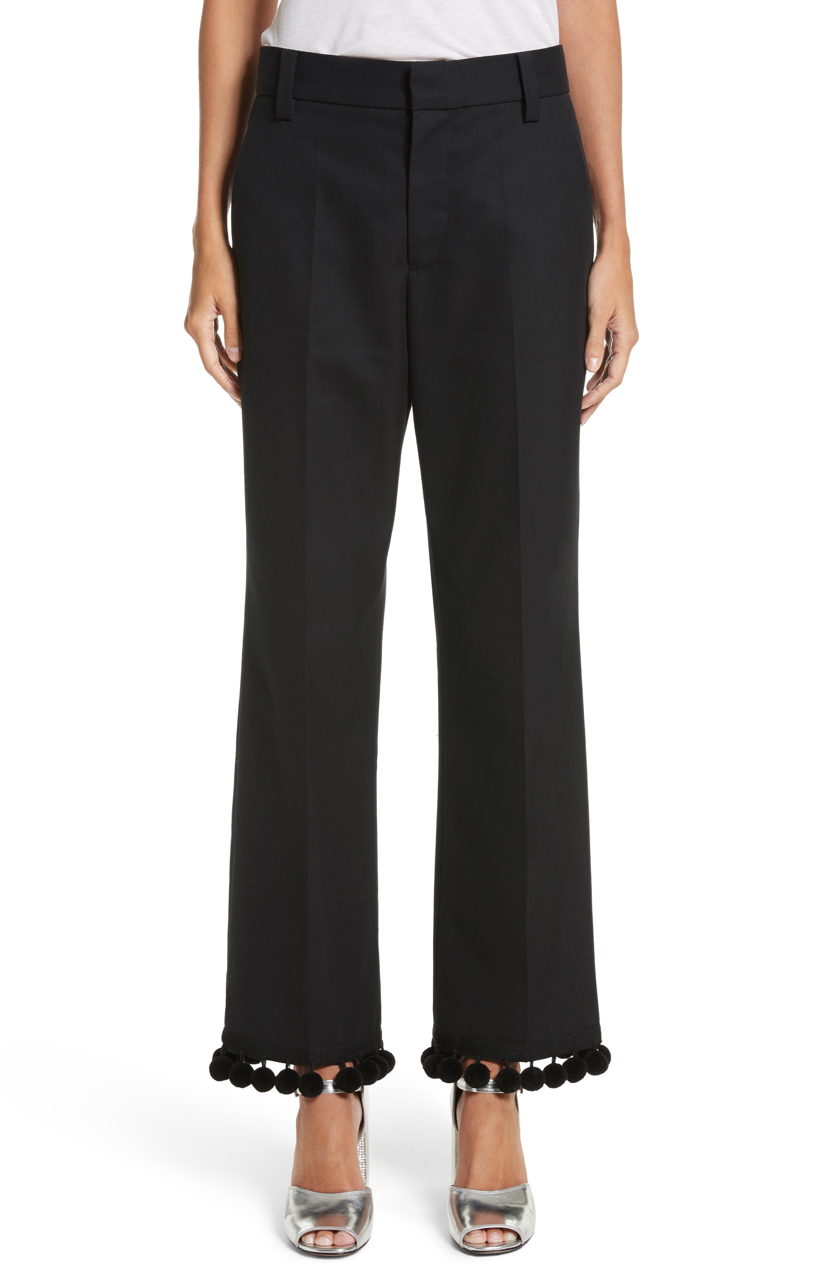 Pompom Hem Trousers,                         Main,                         color, Black