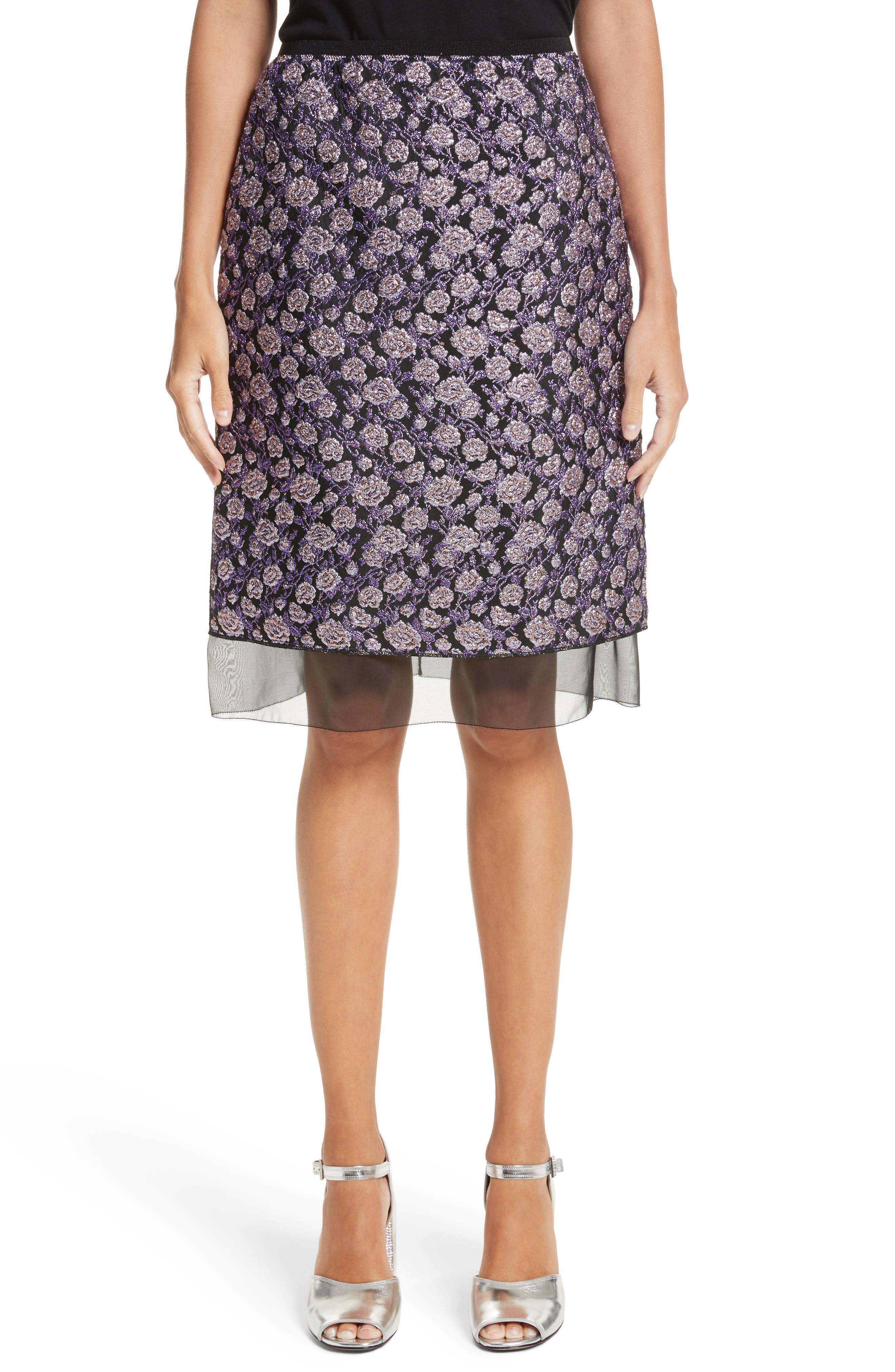 Metallic Jacquard Pencil Skirt,                         Main,                         color, Purple Multi