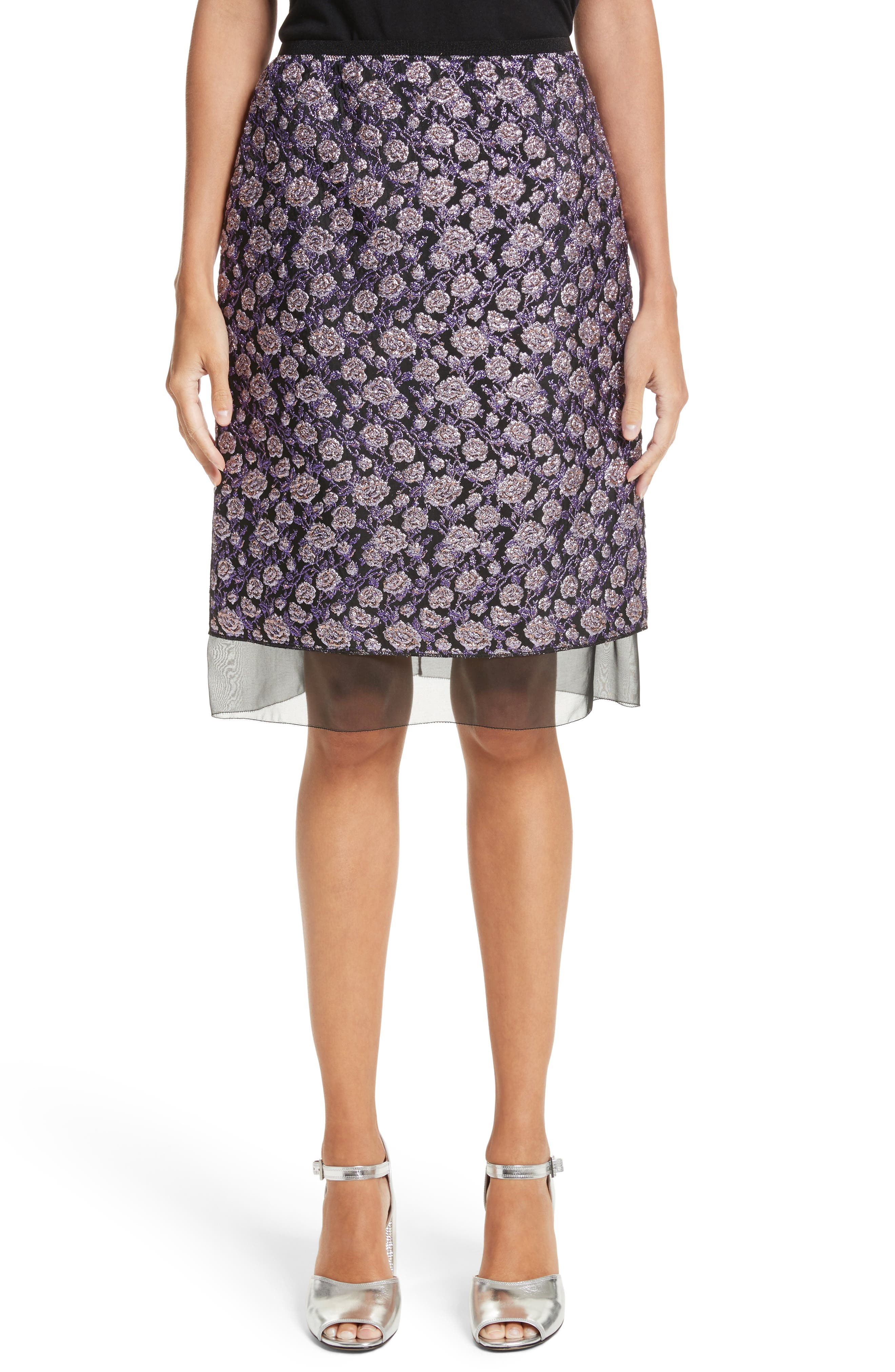 MARC JACOBS Metallic Jacquard Pencil Skirt