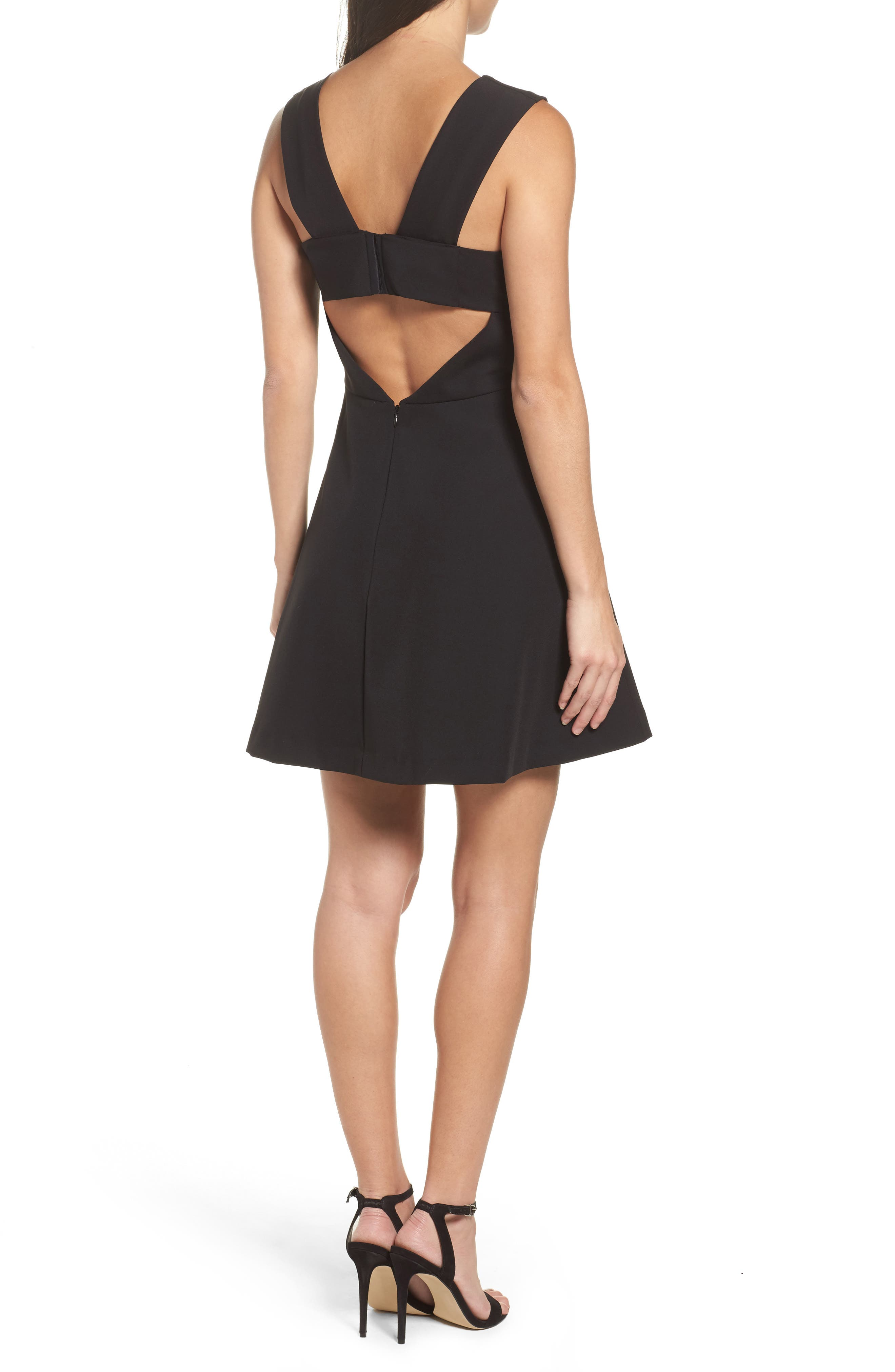Bianca Back Cutout Fit & Flare Dress,                             Alternate thumbnail 2, color,                             Black