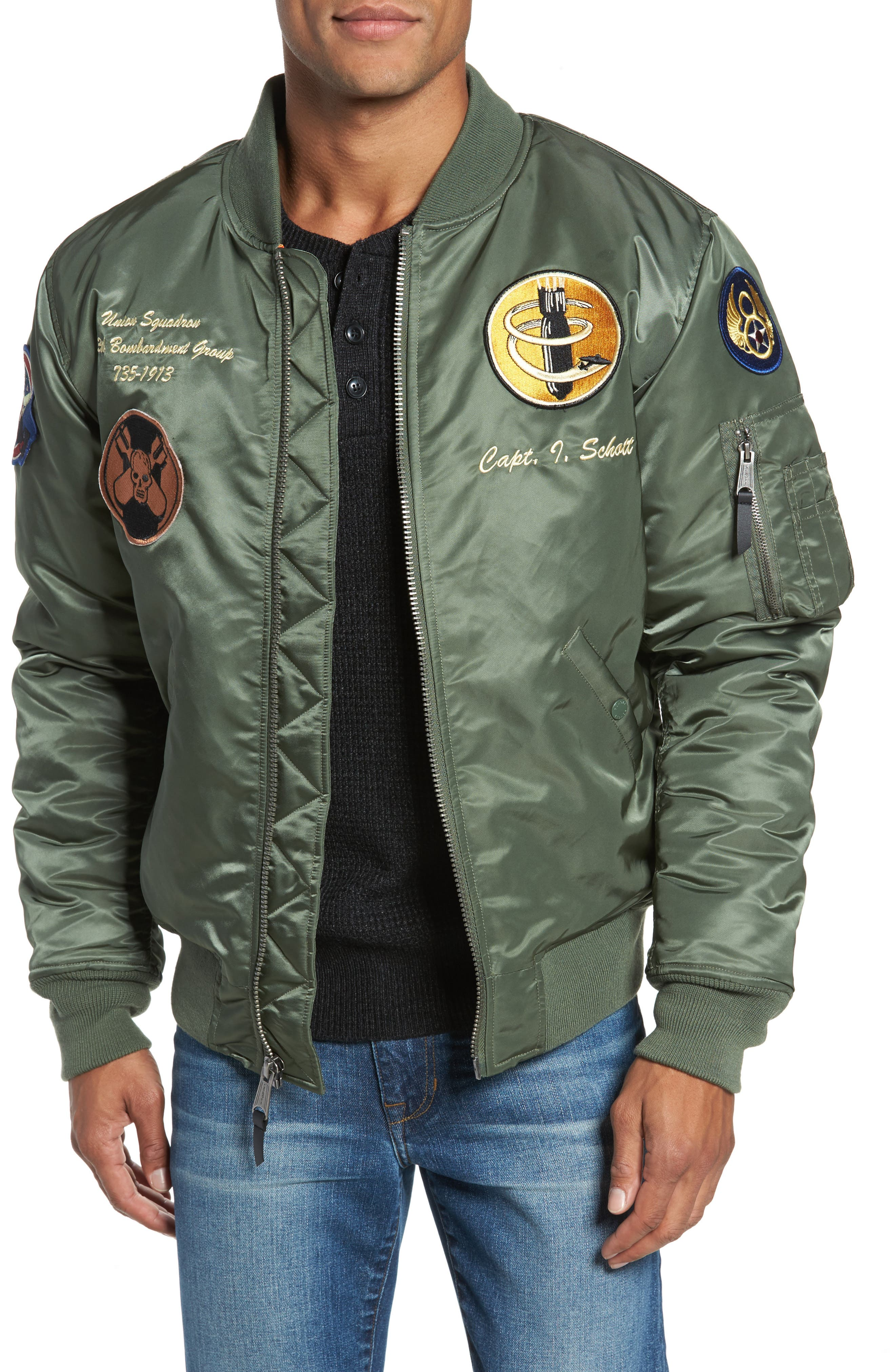 Highly Decorated Embroidered Flight Jacket,                         Main,                         color, Sage