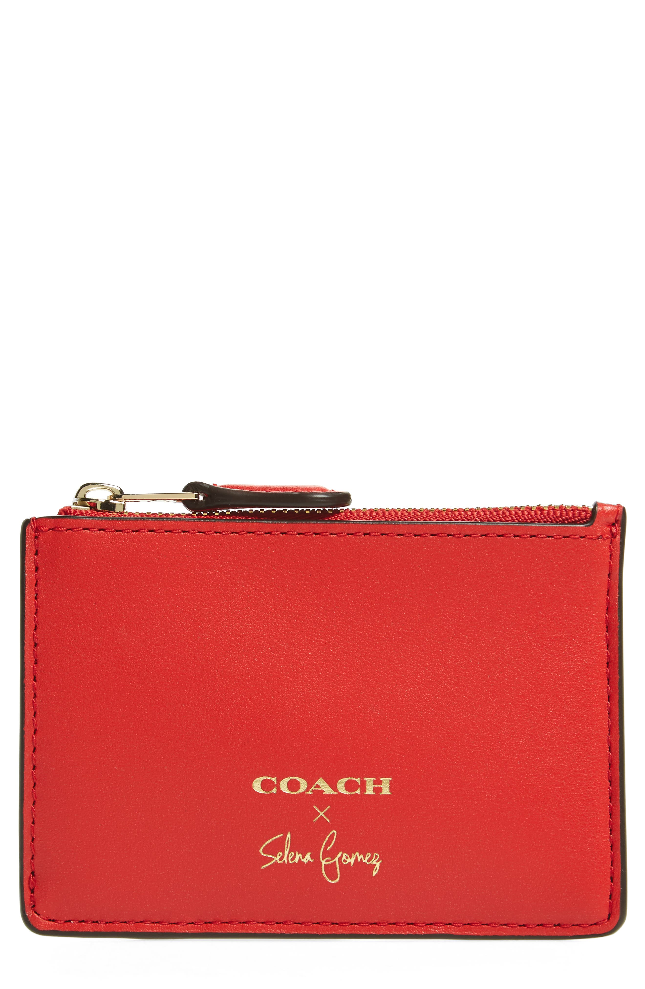 x Selena Gomez Mini Skinny Leather Card Case,                         Main,                         color, Red