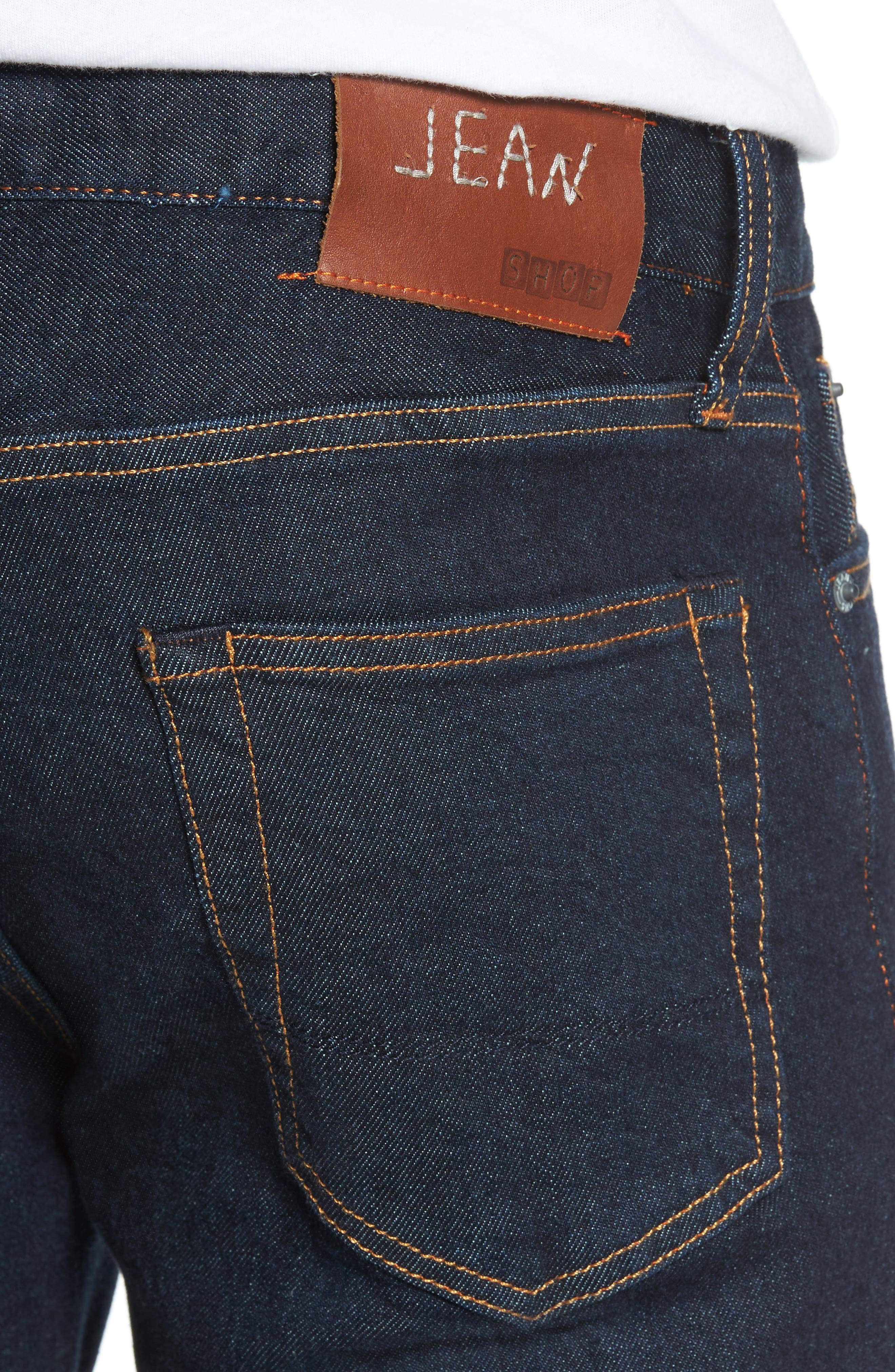 Jim Slim Fit Selvedge Jeans,                             Alternate thumbnail 4, color,                             Stretch Rinse