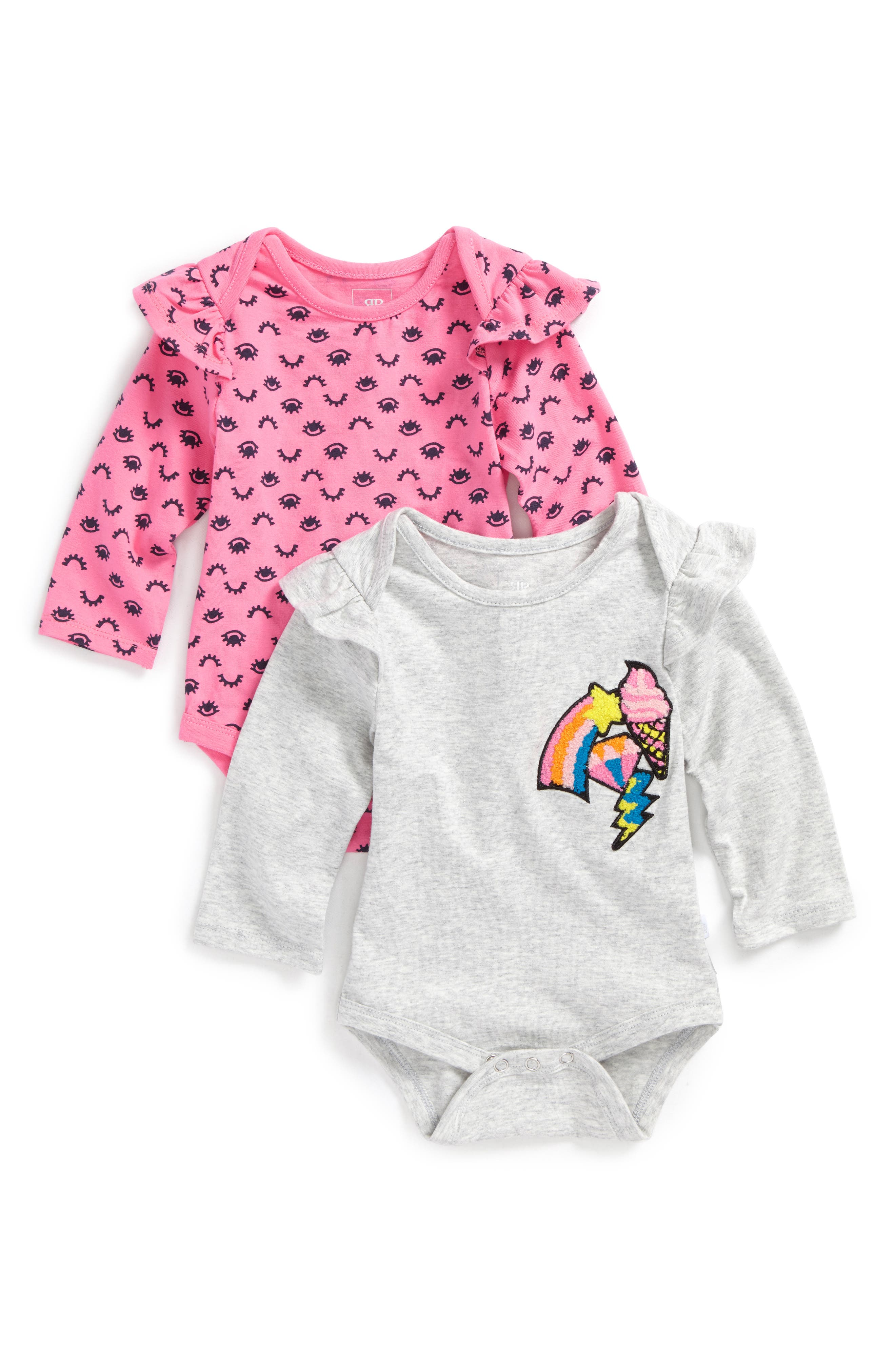 Main Image - Rosie Pope 2-Pack Long-Sleeve Bodysuits (Baby Girls)