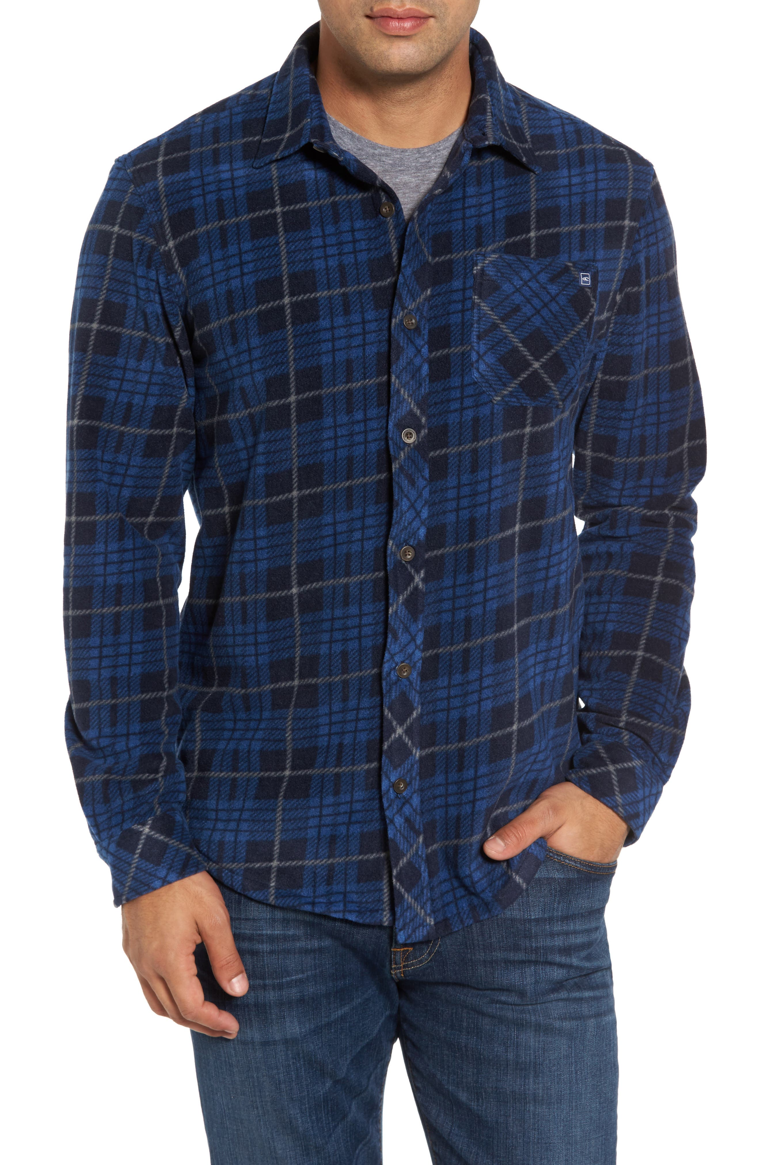 Breakers Regular Fit Plaid Fleece Shirt,                         Main,                         color, Navy