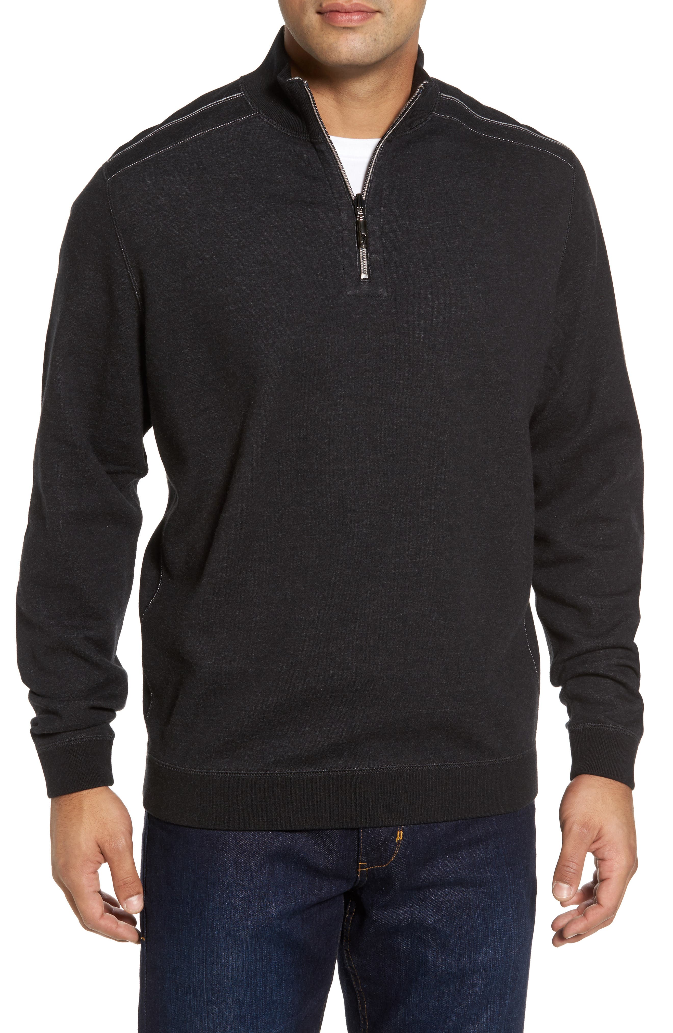Flip Drive Quarter Zip Pullover,                         Main,                         color, Black