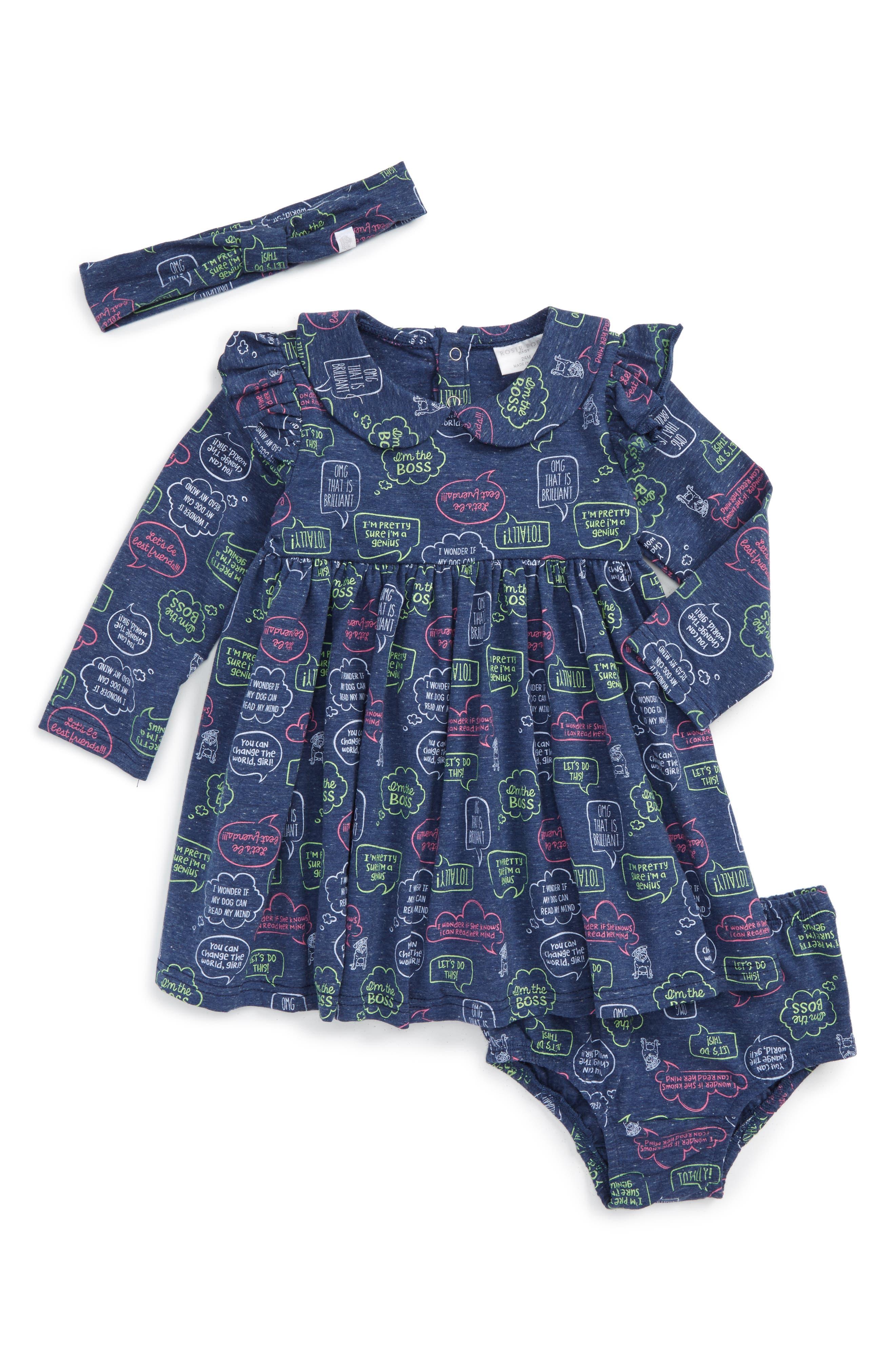 Word Bubble Graphic Print Dress & Headband Set,                         Main,                         color, Navy