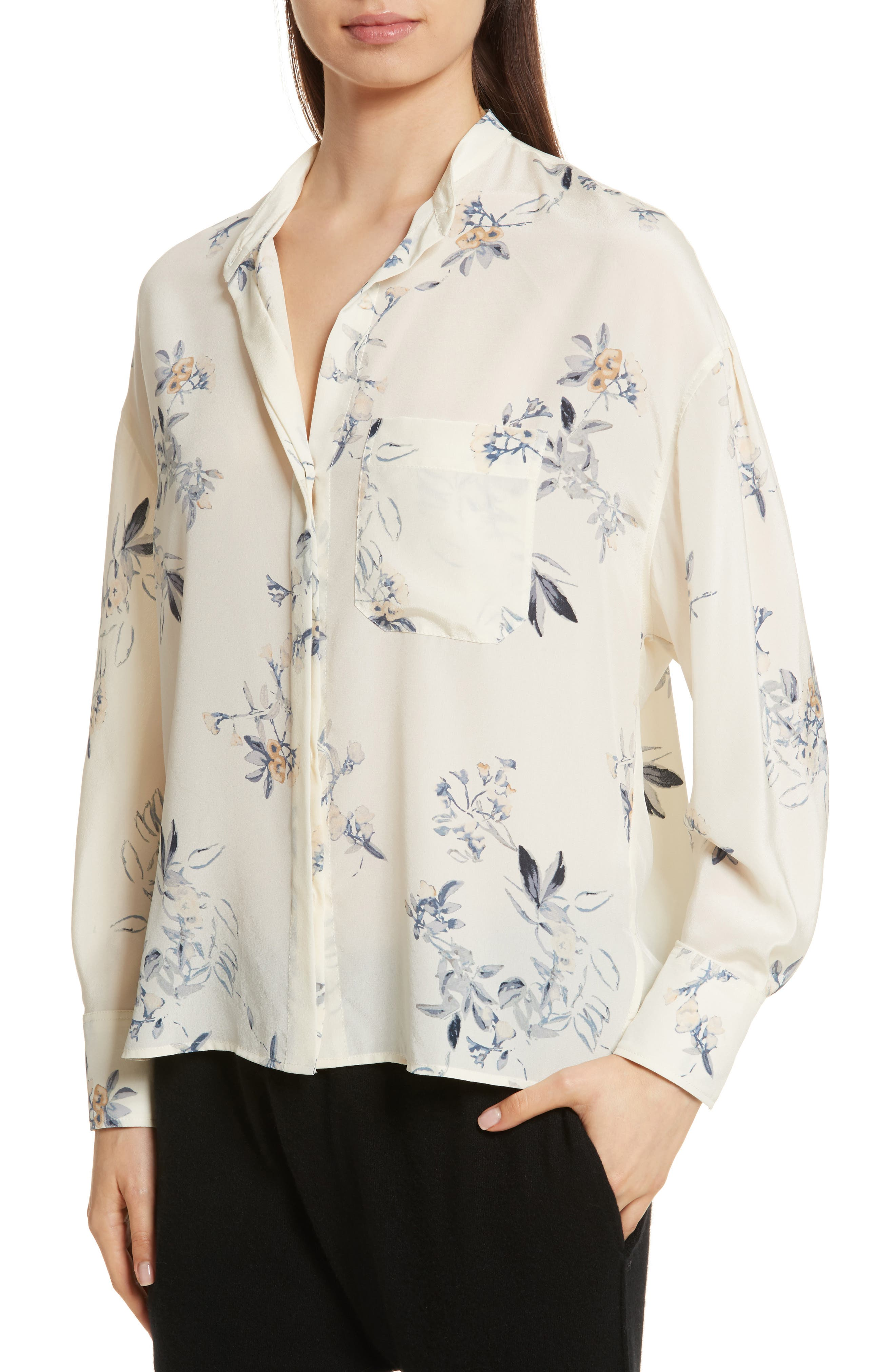 Floral Silk Blouse,                             Alternate thumbnail 3, color,                             Cream