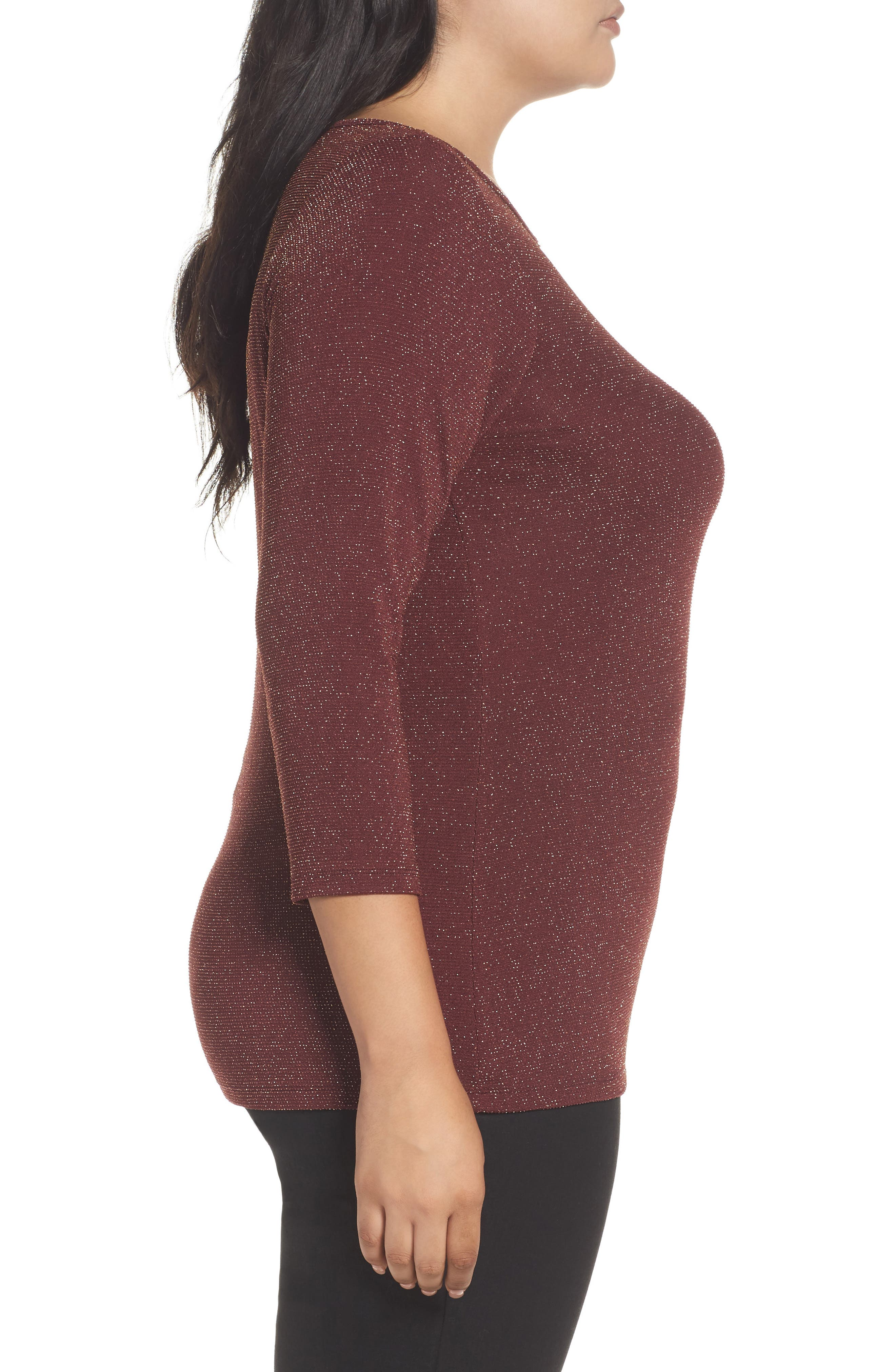 Metallic Top,                             Alternate thumbnail 3, color,                             Merlot
