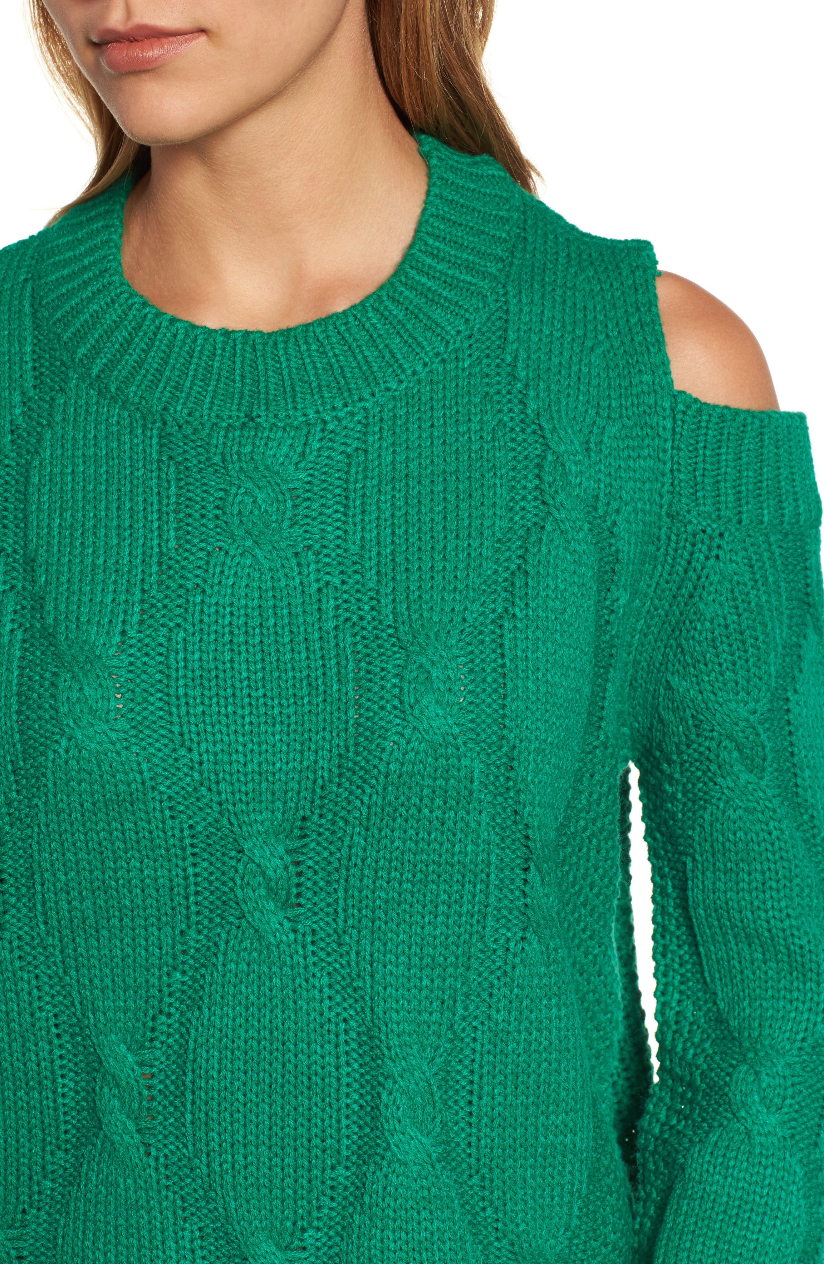 Alternate Image 4  - RDI Cold Shoulder Cable Sweater