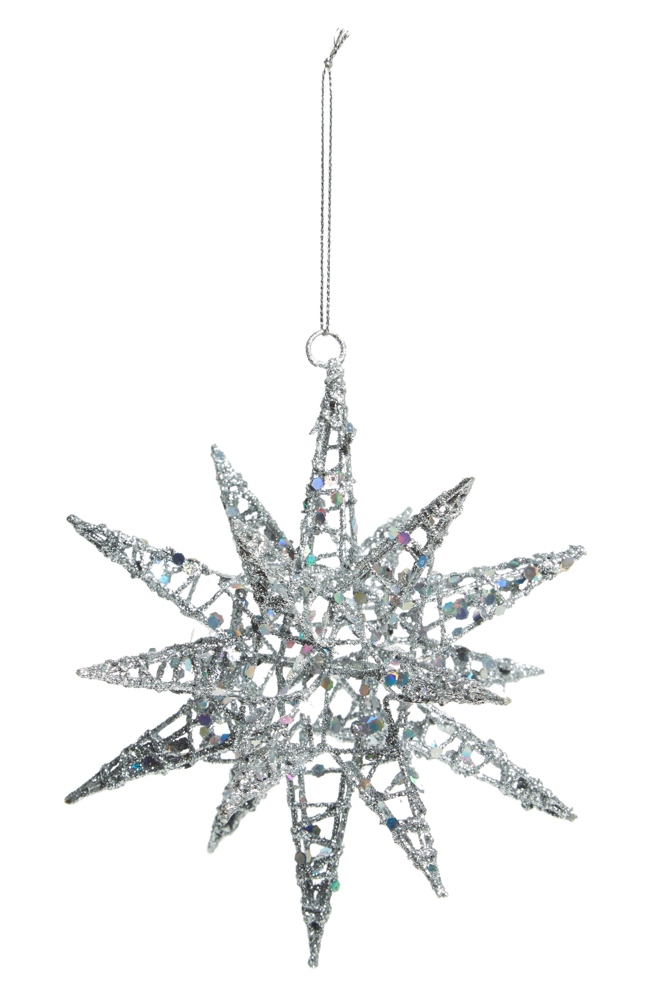 Glitter Star Ornament,                         Main,                         color, Silver