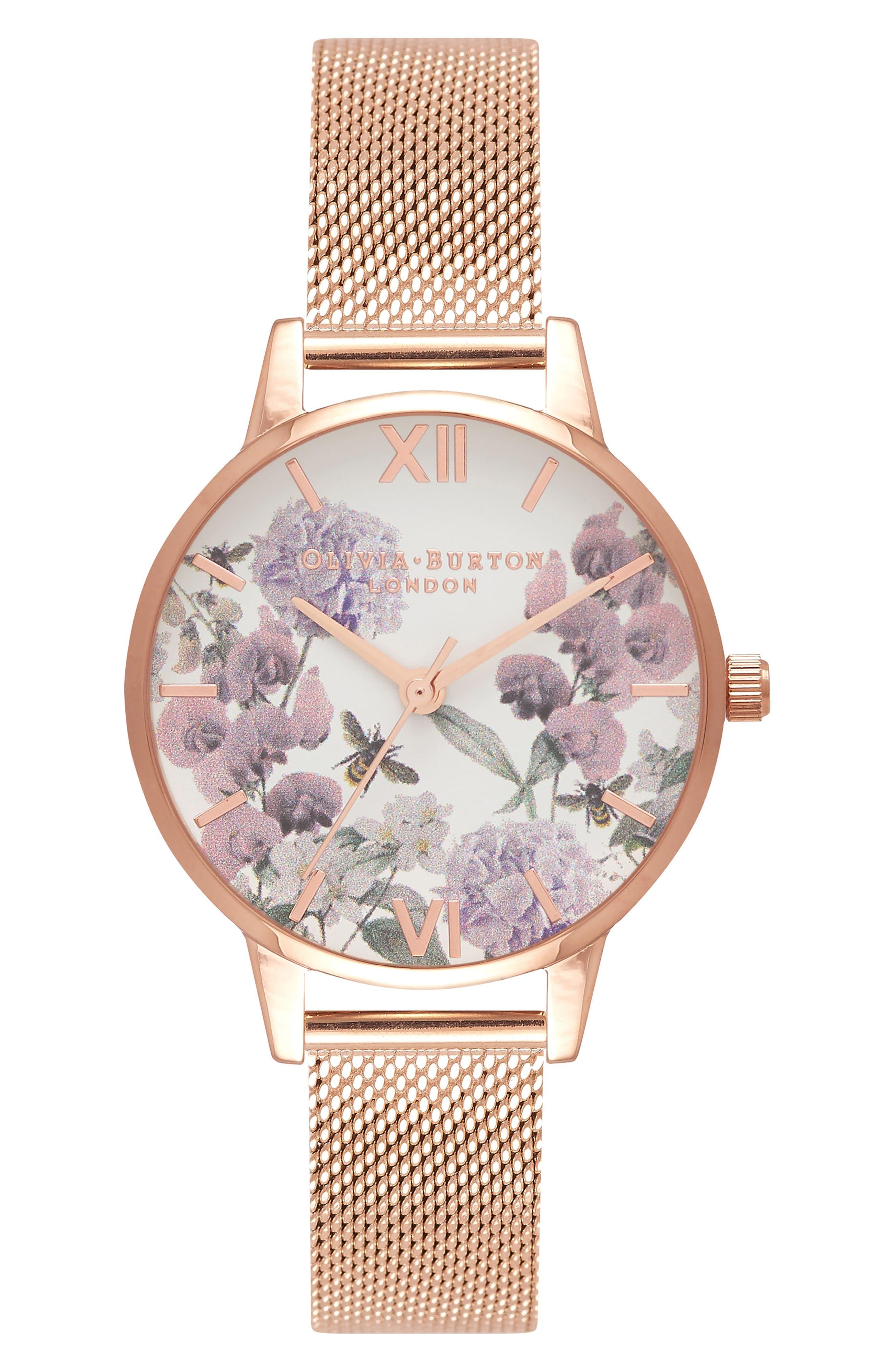 Enchanted Garden Bee Blooms Mesh Bracelet Watch, 30mm,                             Main thumbnail 1, color,                             Rose Gold/ Floral/ Rose Gold