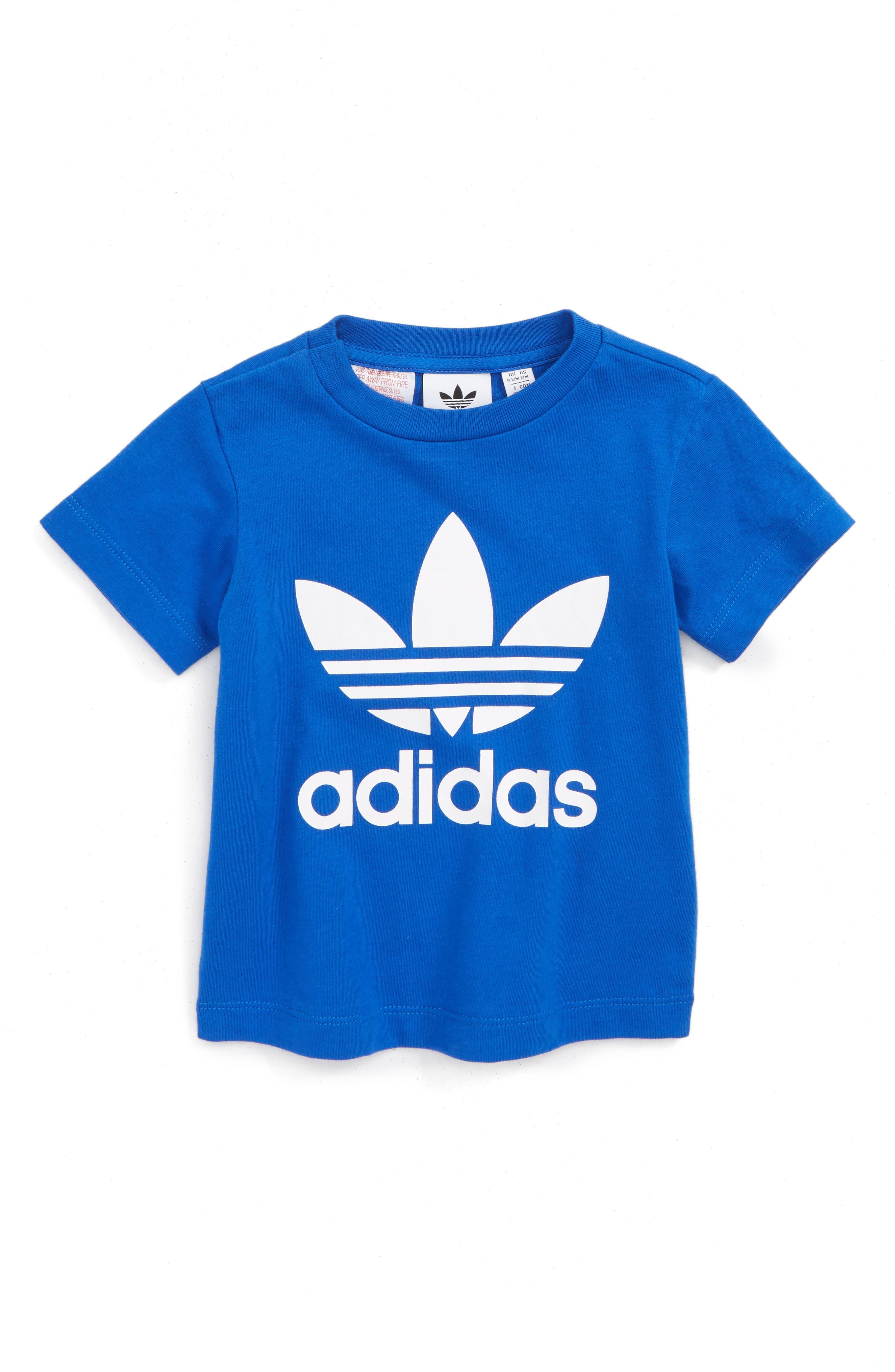 Originals Trefoil Logo T-Shirt,                             Main thumbnail 1, color,                             Blue. White