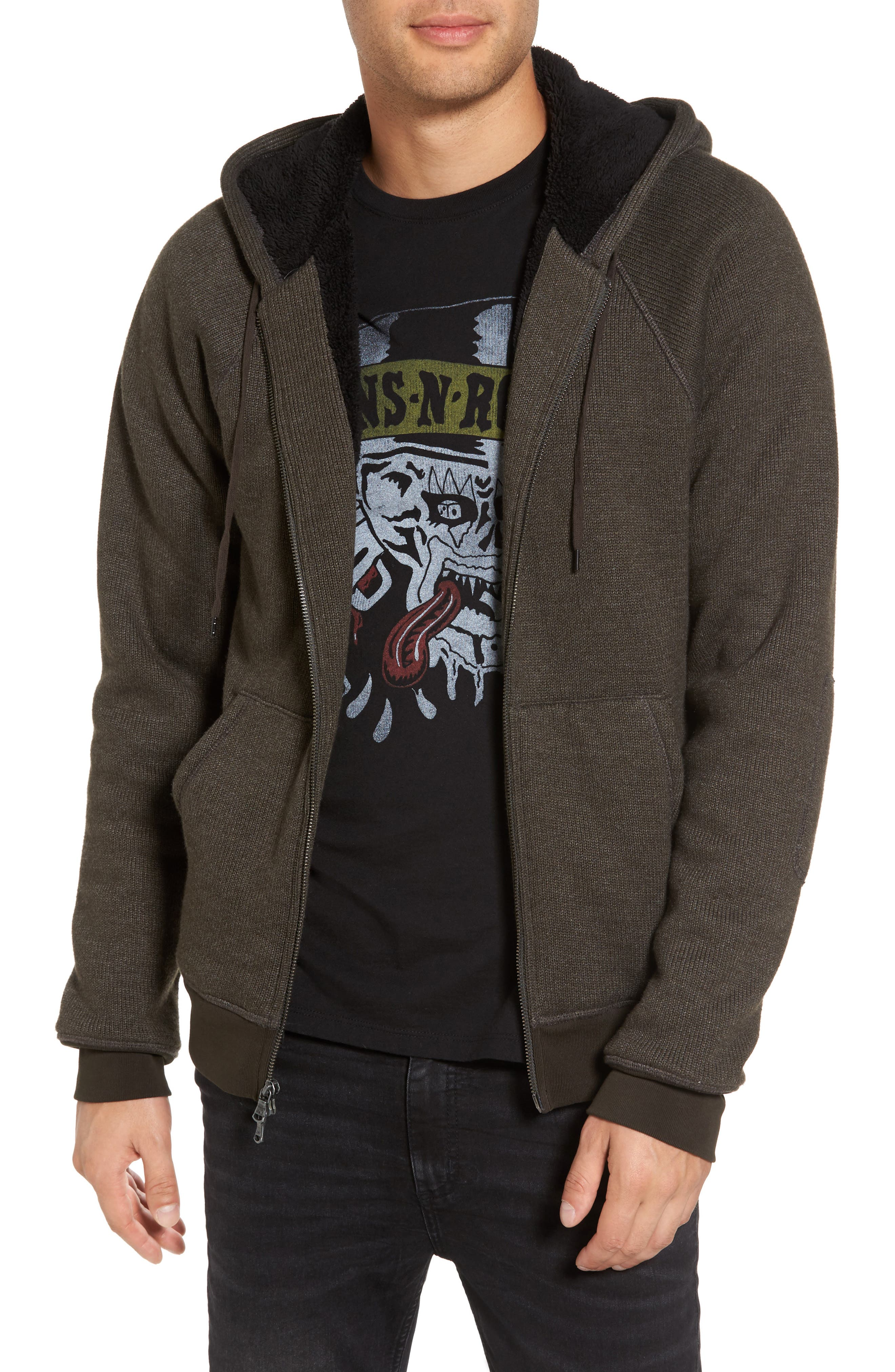 Main Image - John Varvatos Star USA Fleece Lined Zip Hoodie