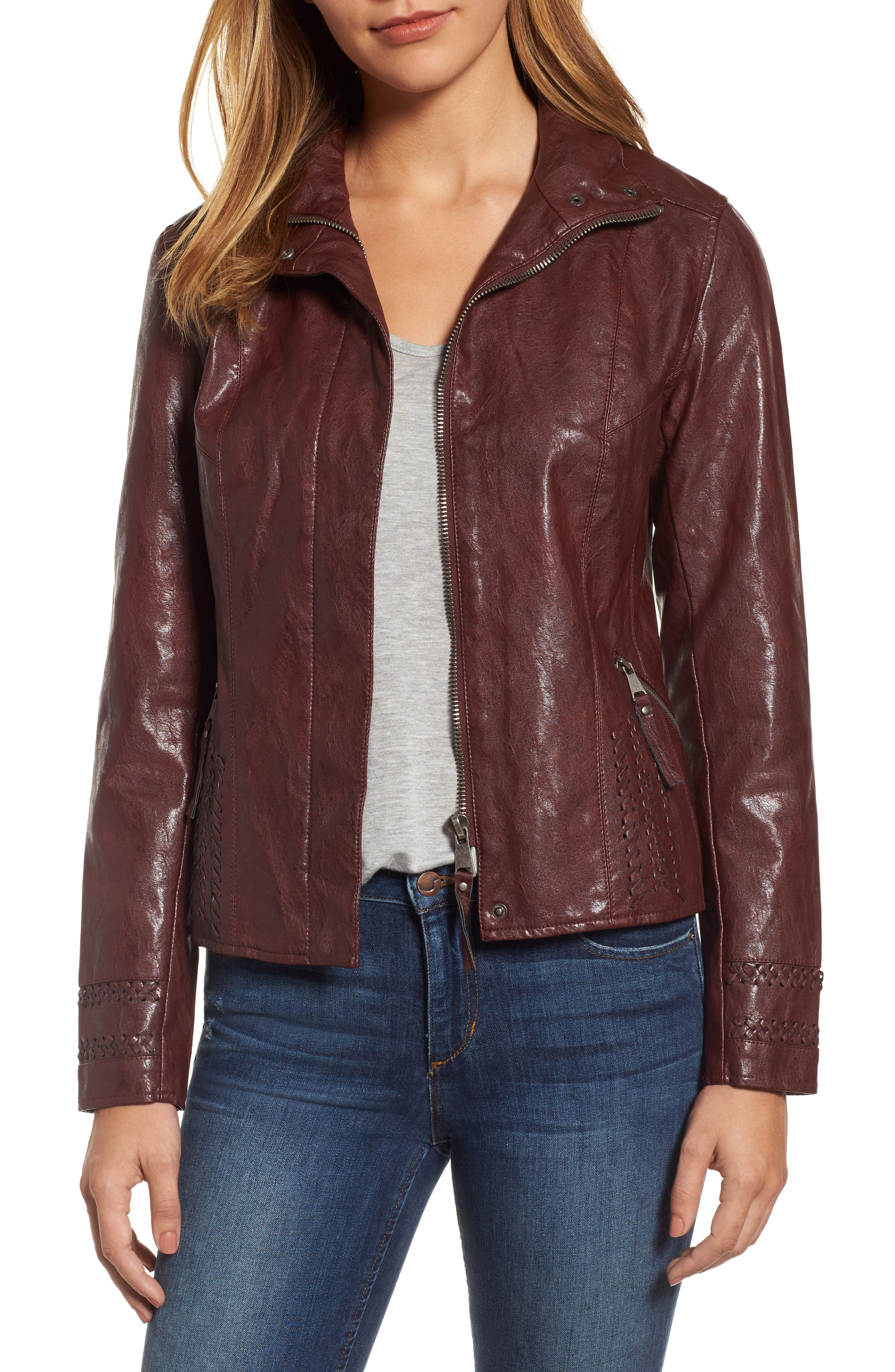 Brittney Faux Leather Jacket,                         Main,                         color, Burgundy