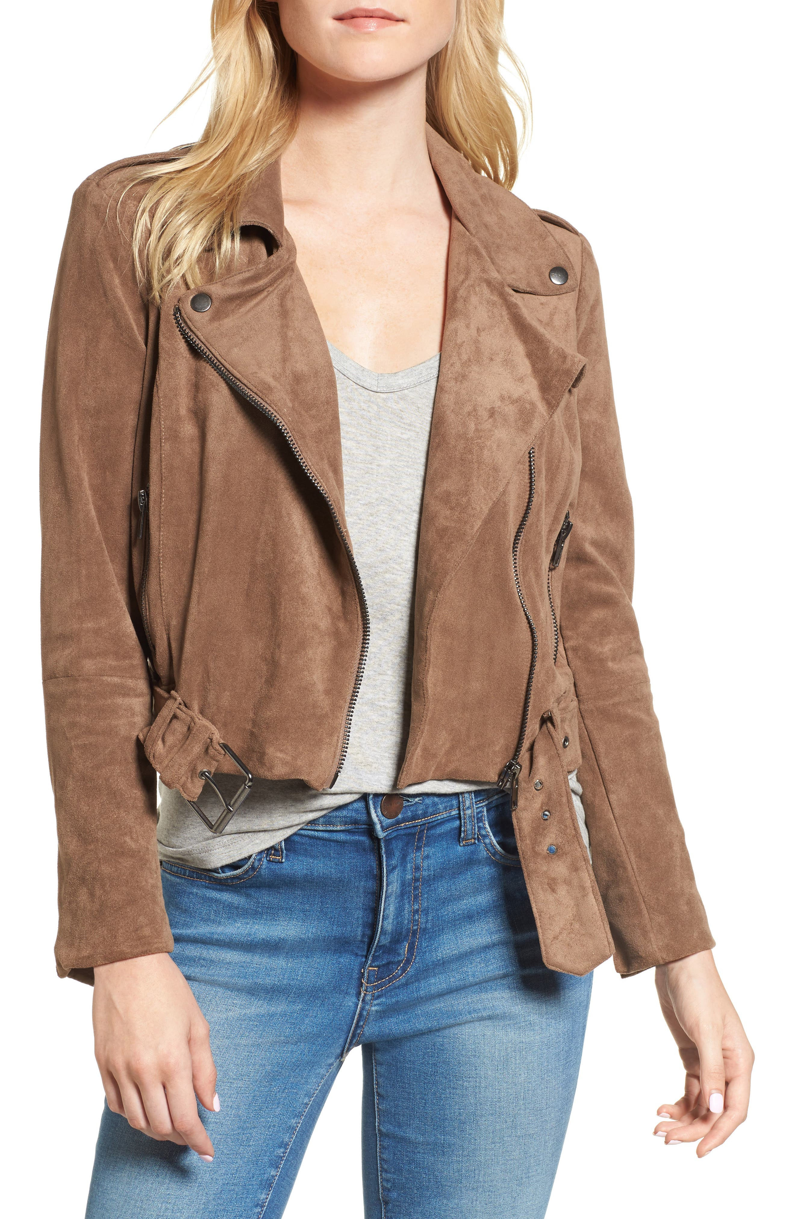 Waller Faux Suede Moto Jacket,                             Main thumbnail 1, color,                             Mocha