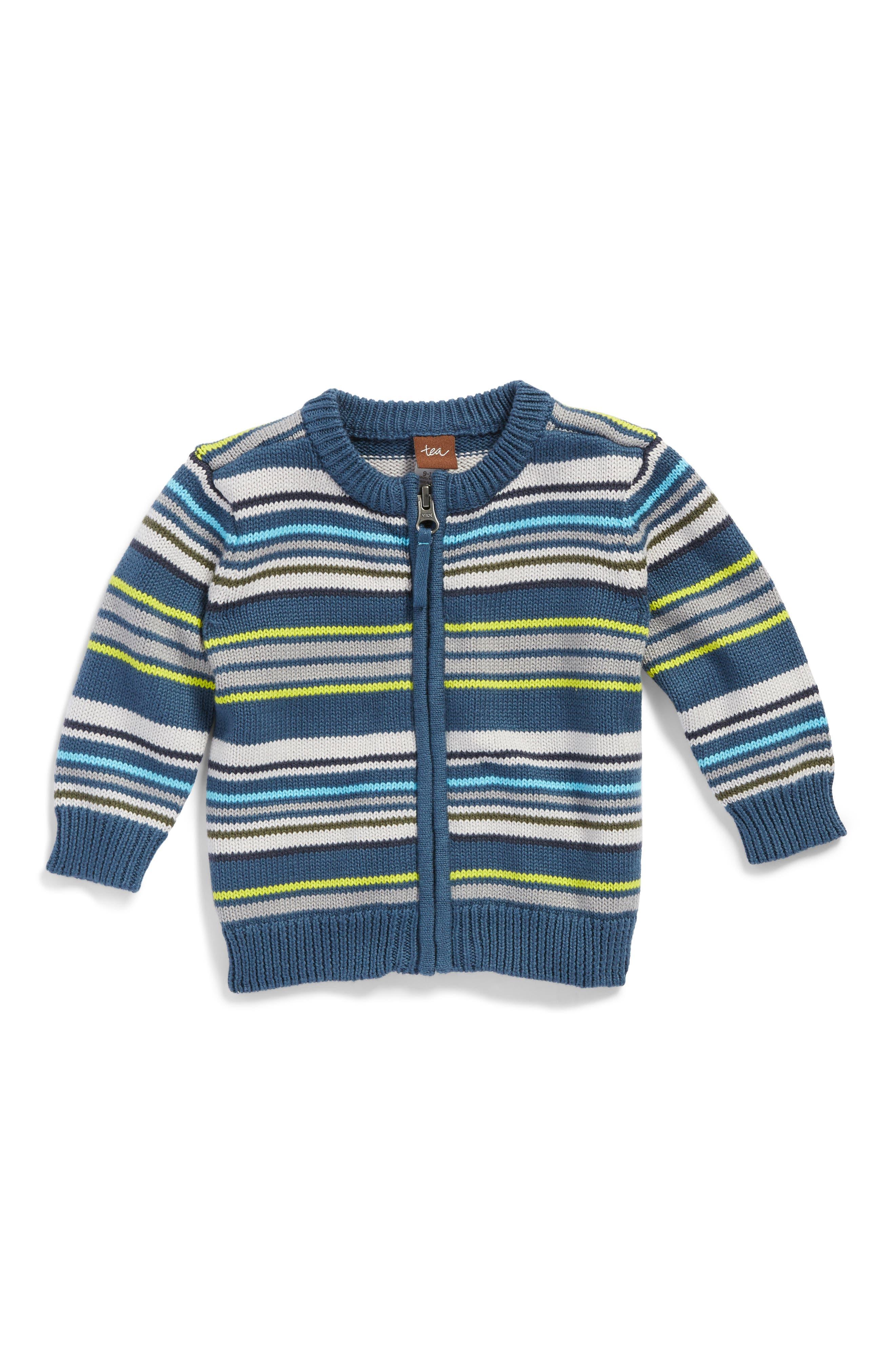 Main Image - Tea Collection Gavin Stripe Zip Cardigan (Baby Boys)