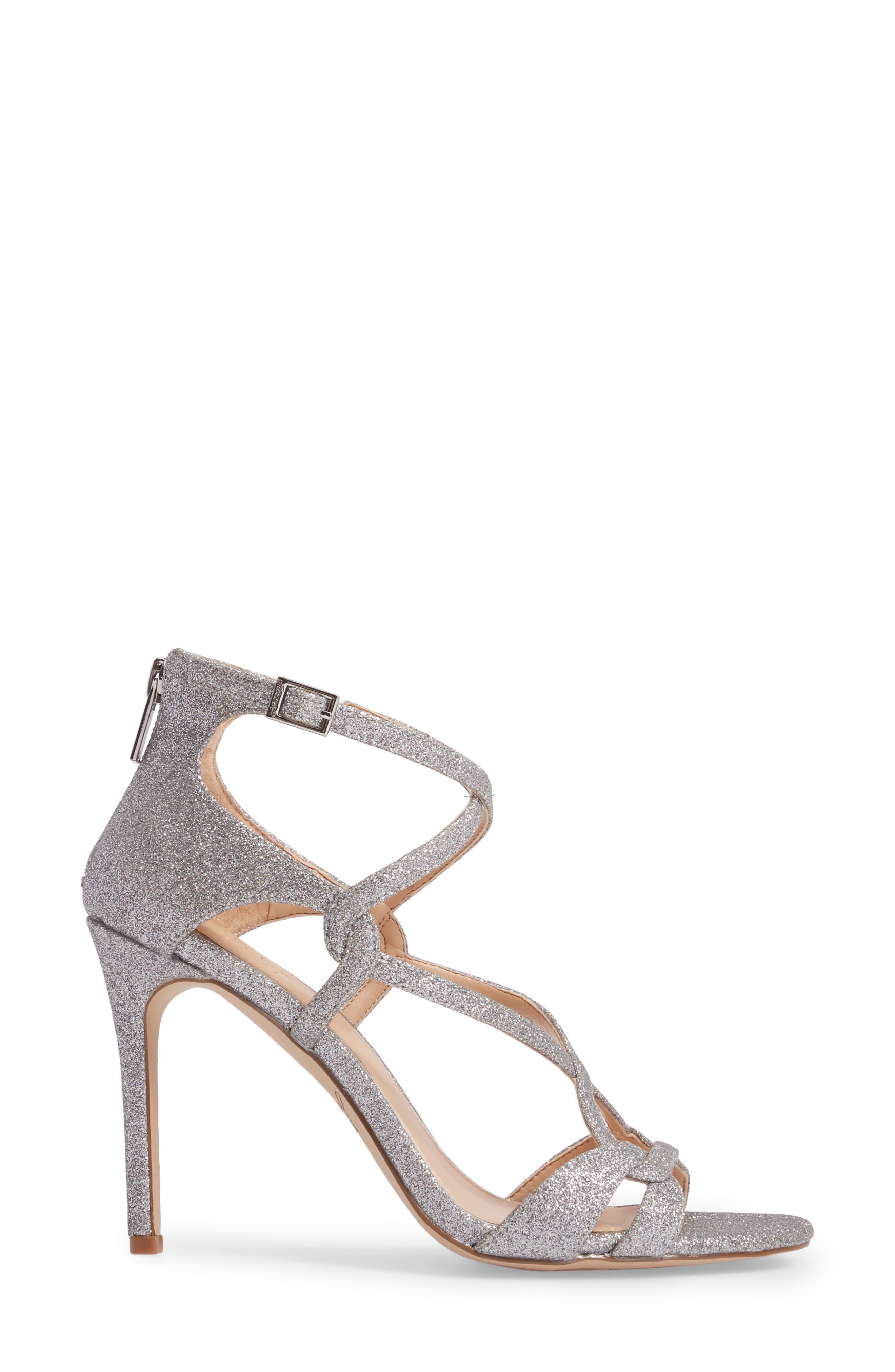 Alternate Image 3  - Jewel Badgley Mischka Aliza Strappy Glitter Sandal (Women)