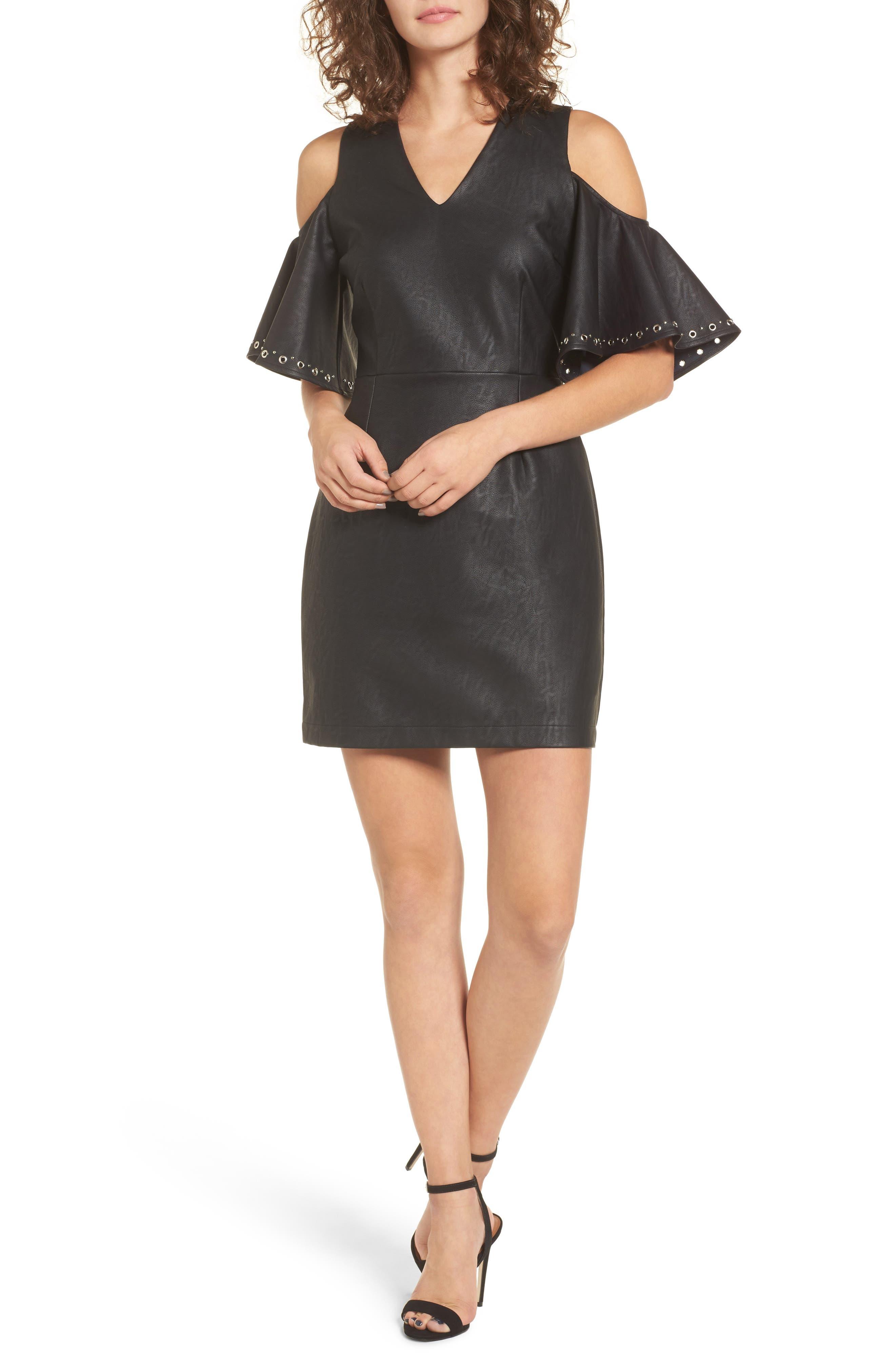 Dakota Cold Shoulder Minidress,                         Main,                         color, Black