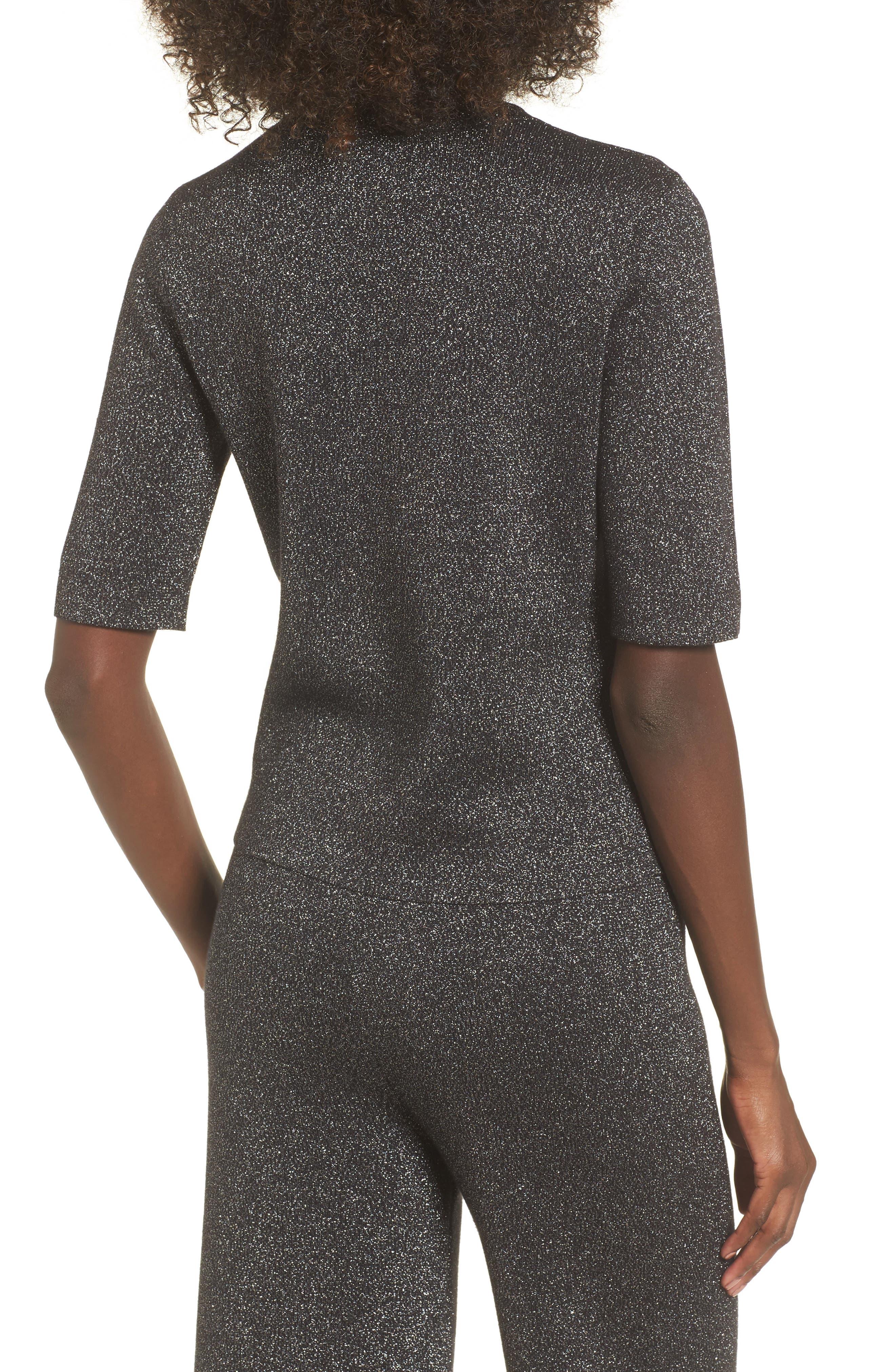 Crop Metallic Sweater,                             Alternate thumbnail 3, color,                             Black Metallic