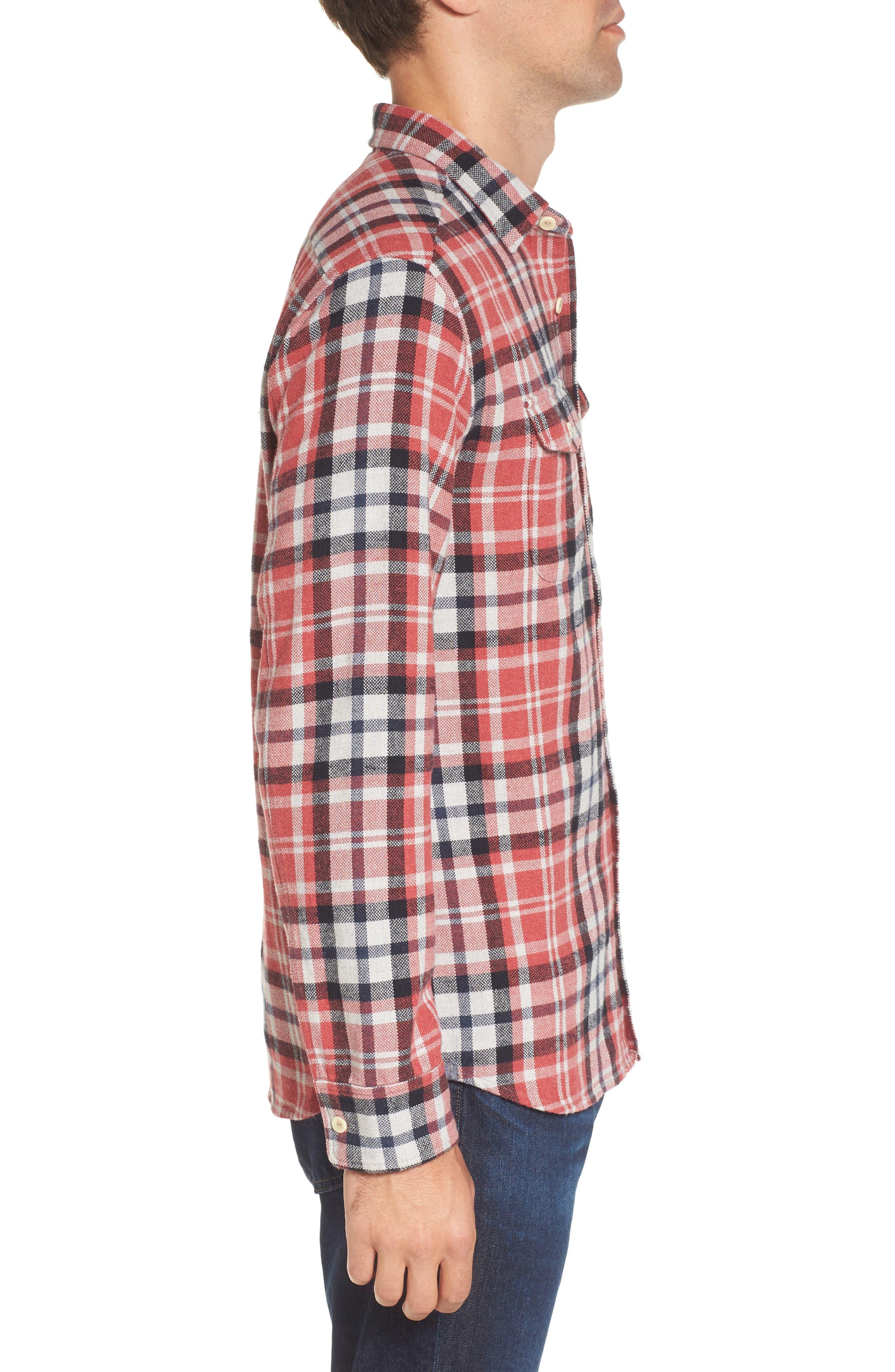 Brampton Textured Plaid Flannel Shirt,                             Alternate thumbnail 3, color,                             Red Stone Navy