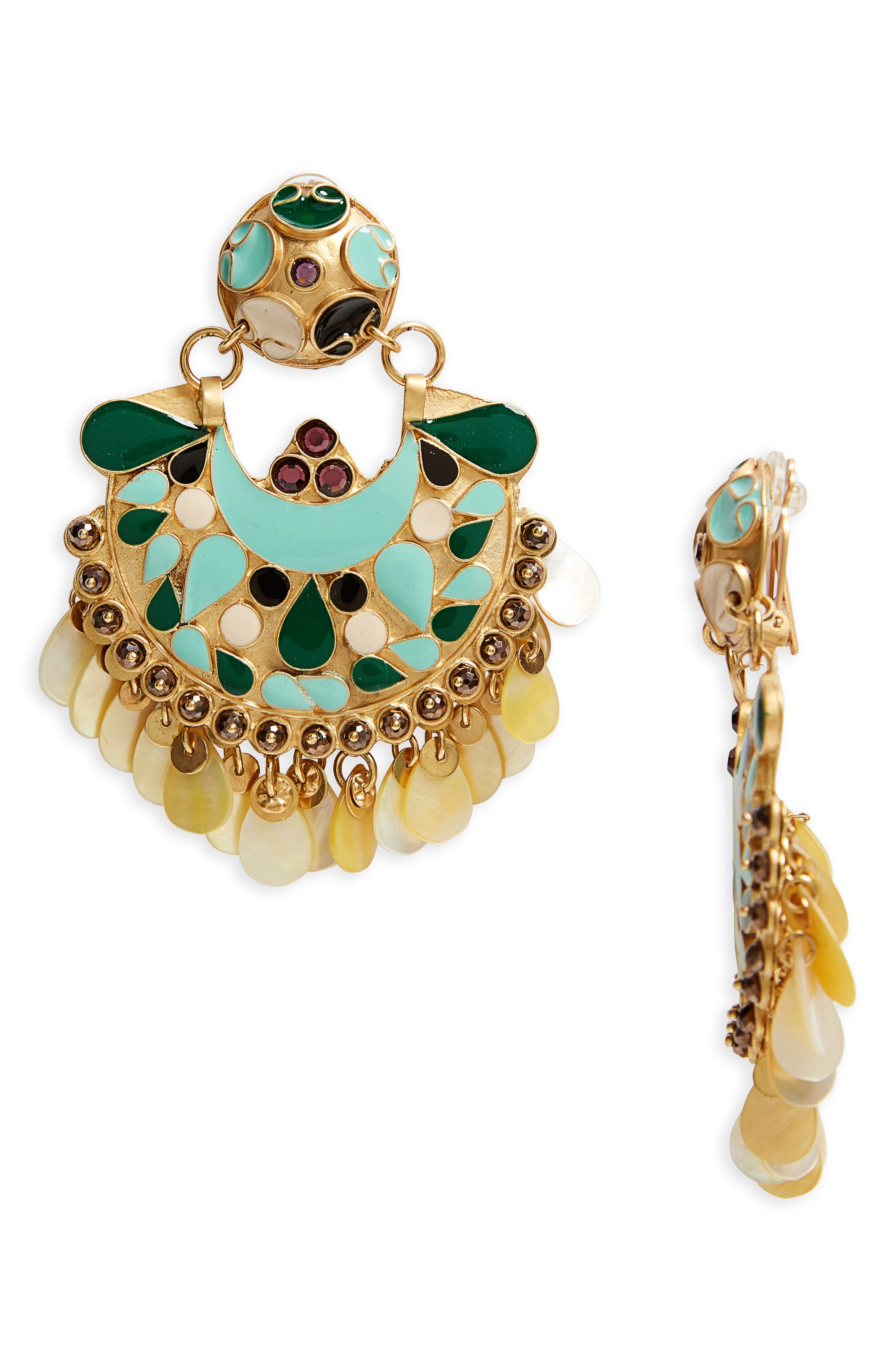 Eventail Statement Clip Earrings,                             Main thumbnail 1, color,                             Green/ Gold