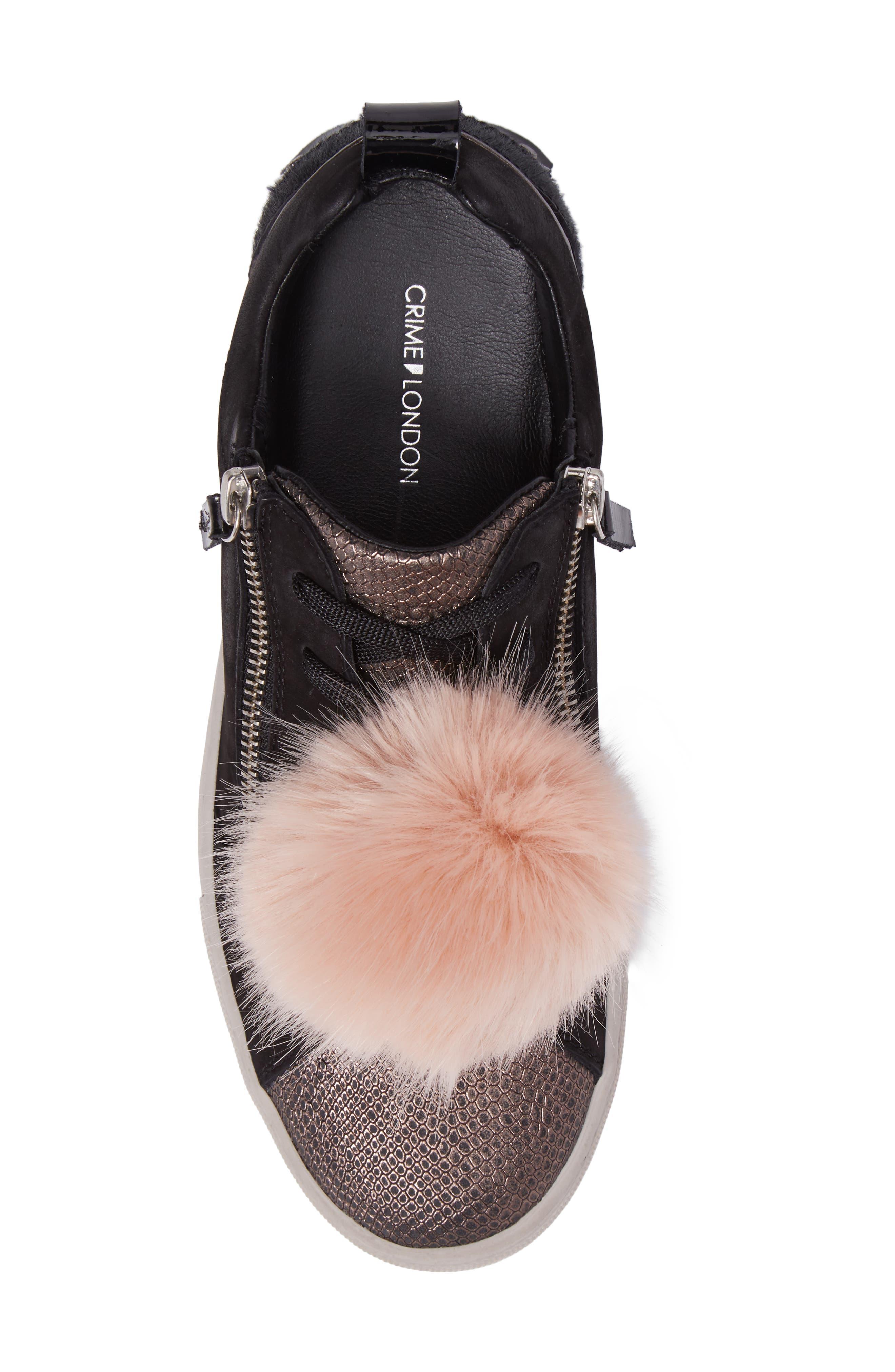 Alternate Image 5  - Crime London Faux Fur Pom & Genuine Calf Hair Sneaker (Women)