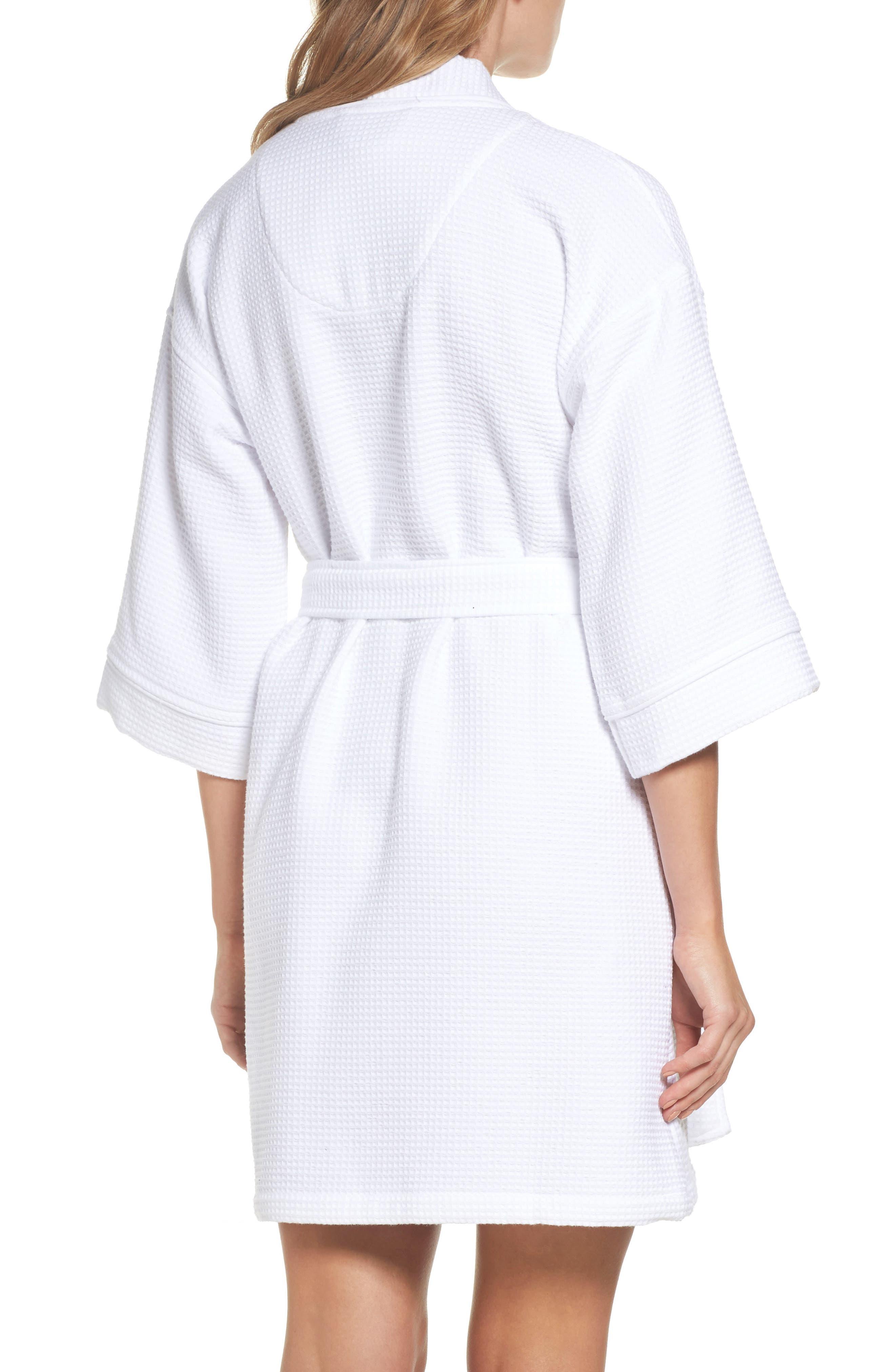 Waffle Knit Short Robe,                             Alternate thumbnail 2, color,                             White