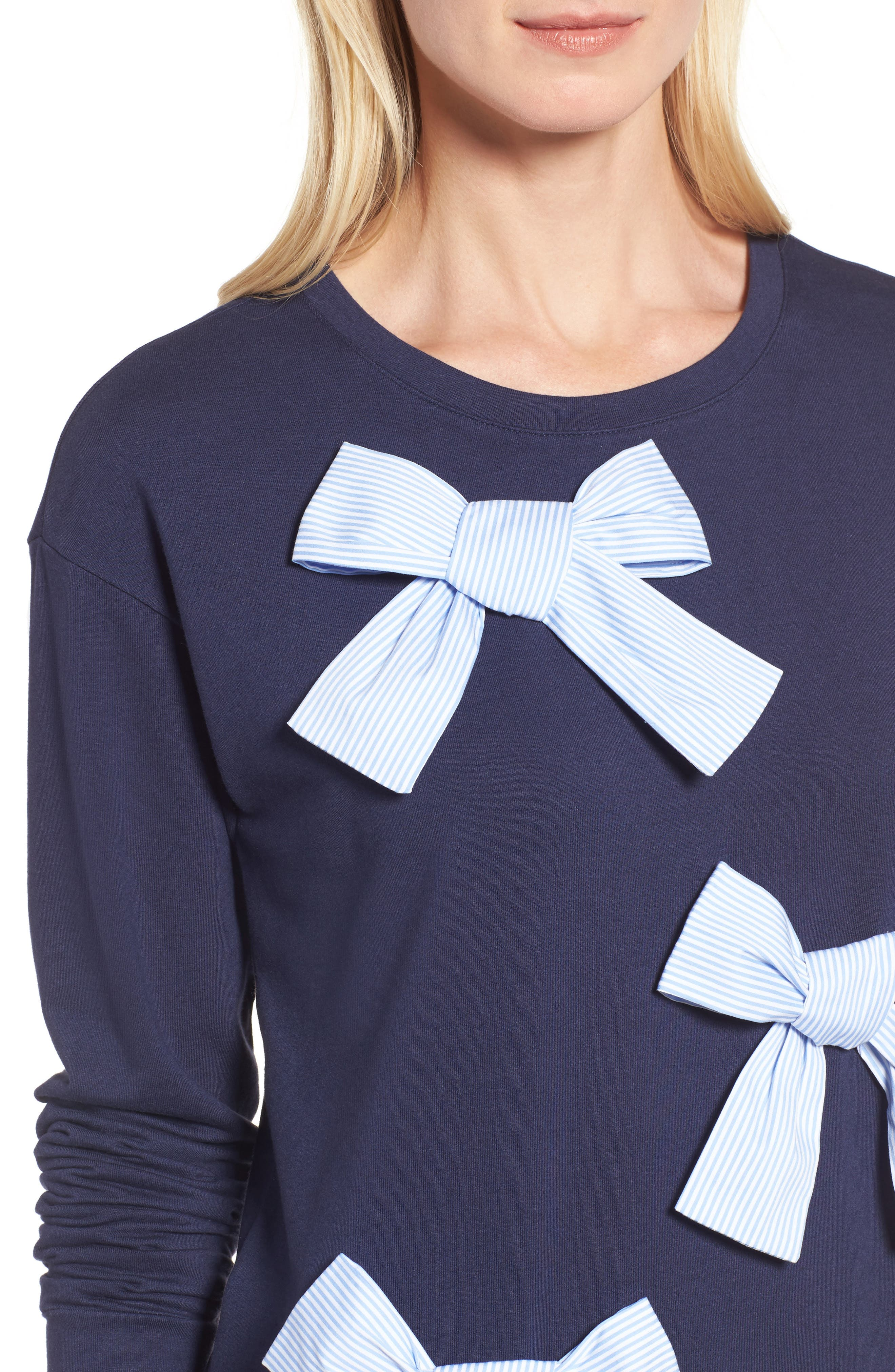 Bow Detail Sweatshirt,                             Alternate thumbnail 5, color,                             Navy Peacoat