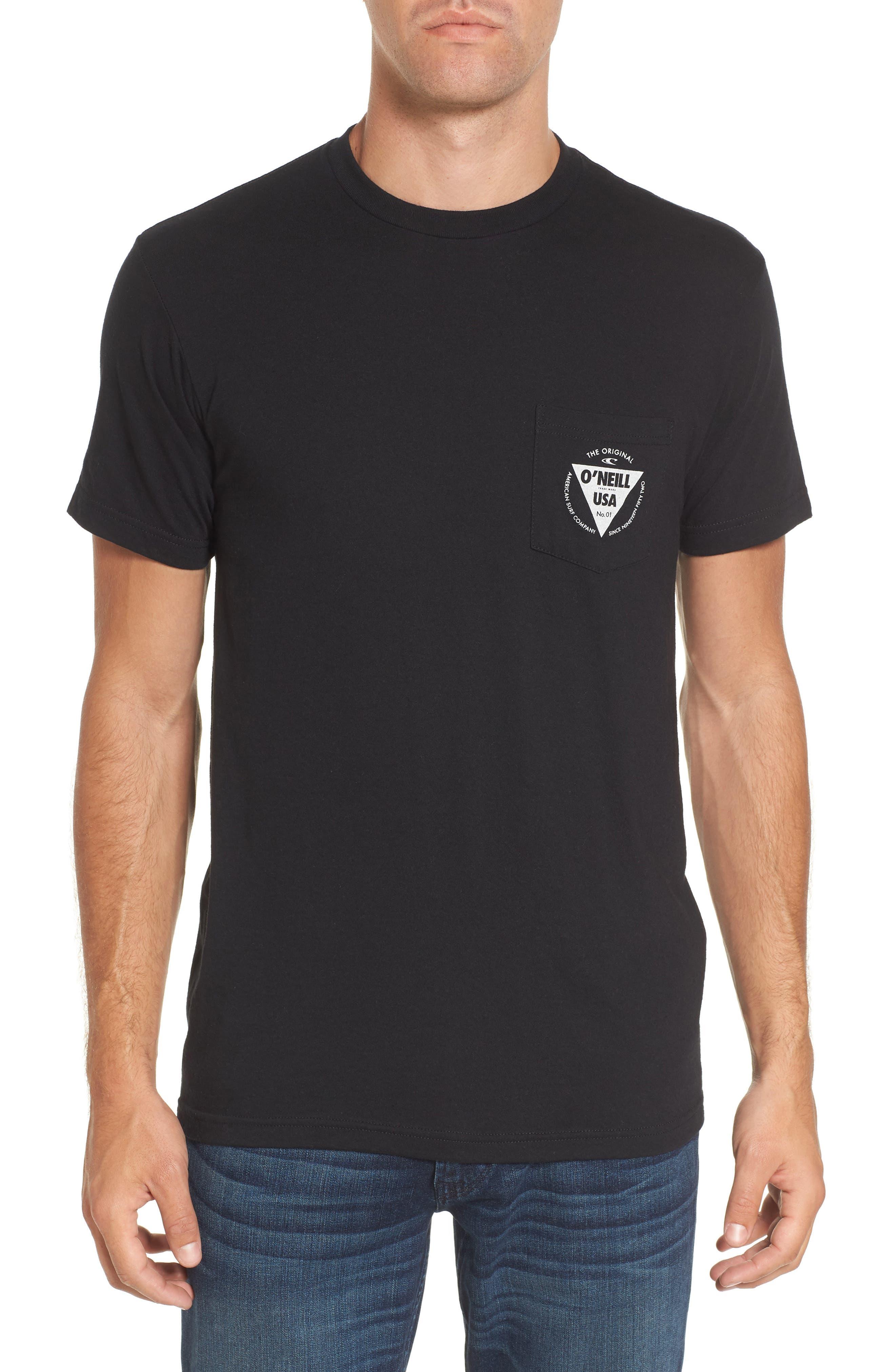 Diver Graphic Pocket T-Shirt,                             Main thumbnail 1, color,                             Heather Black