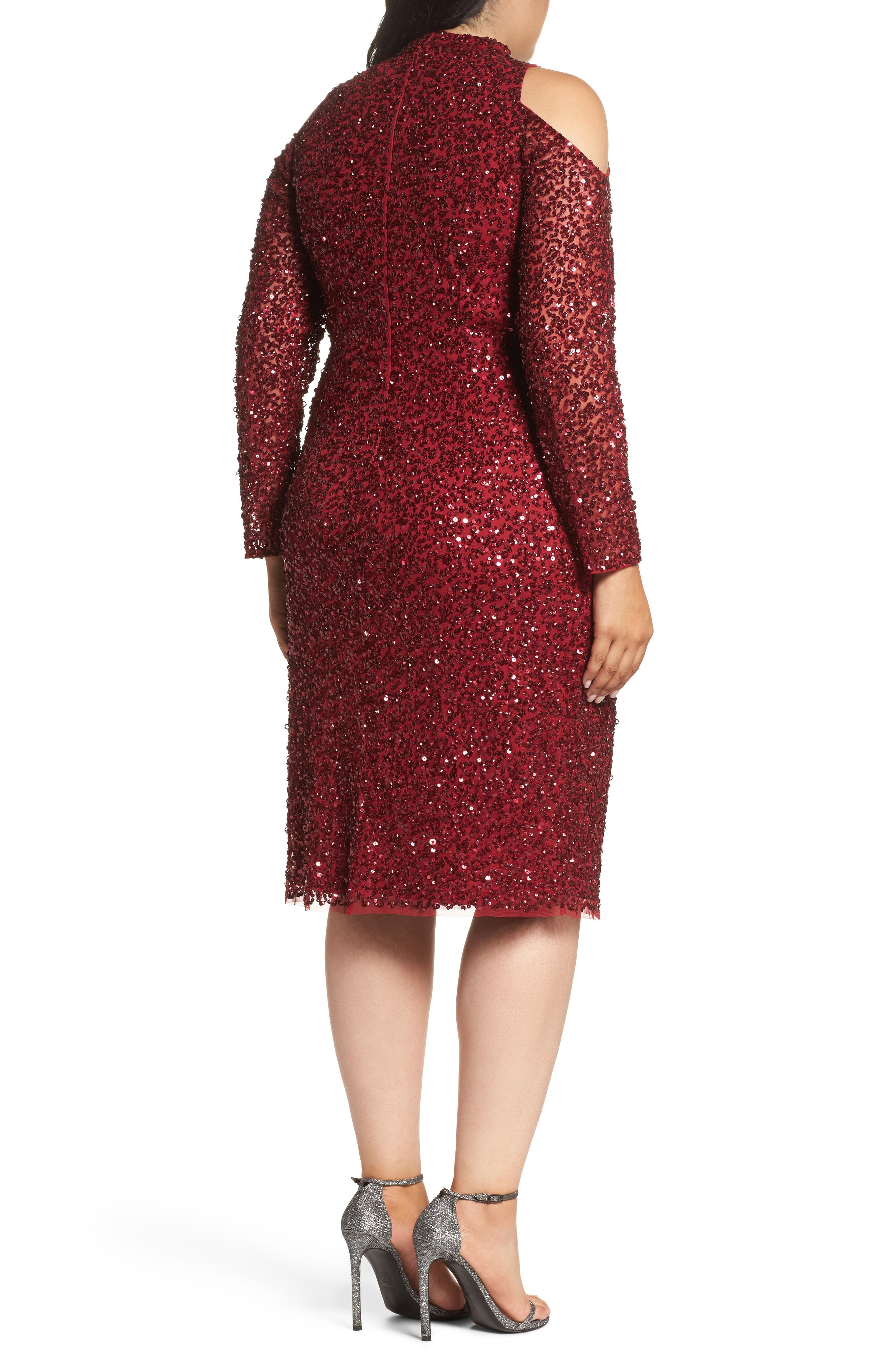 Alternate Image 2  - Adrianna Papell Cold Shoulder Beaded Sheath Dress (Plus Size)