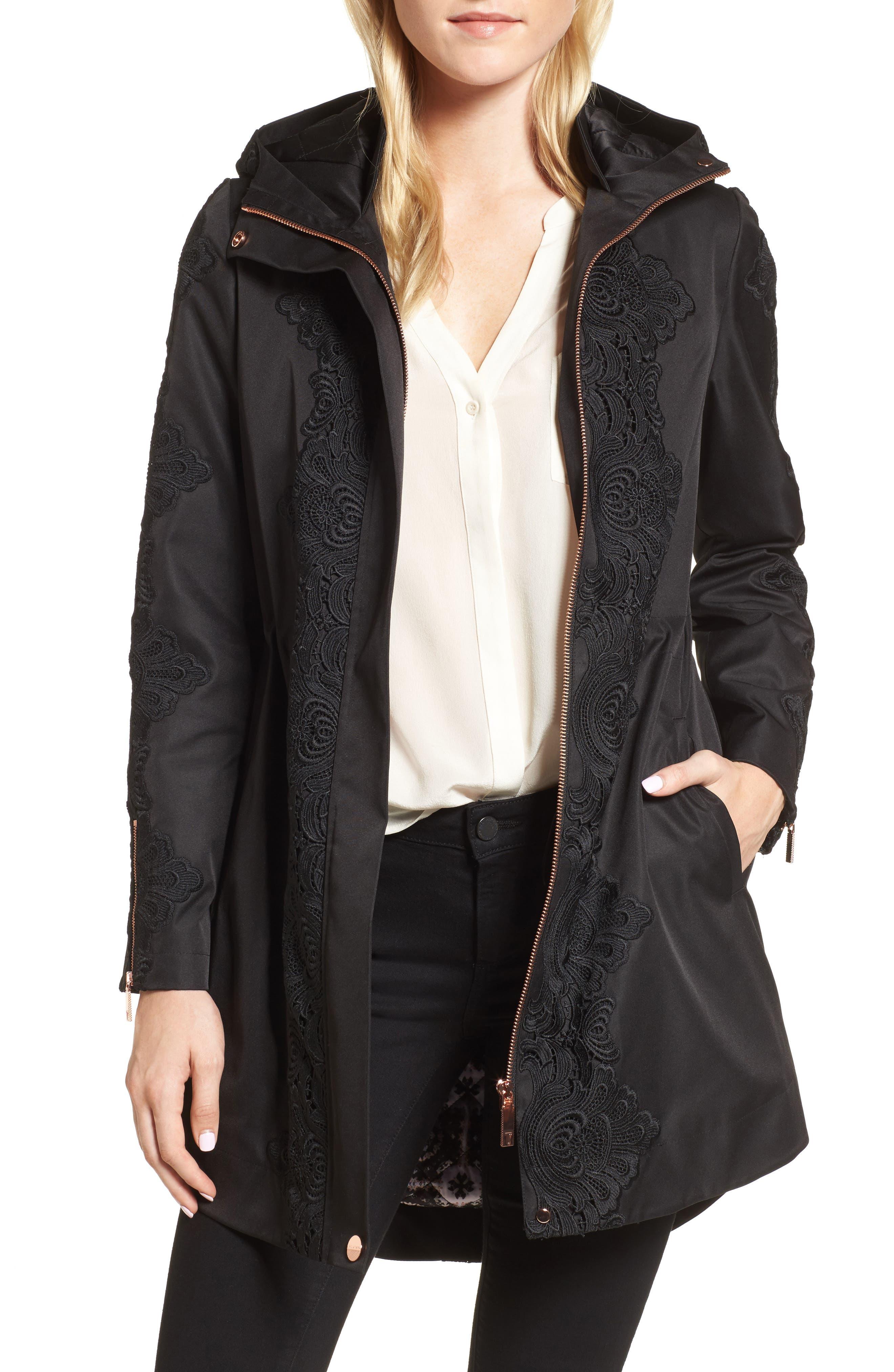 Lace Detail Anorak Jacket,                         Main,                         color, Black