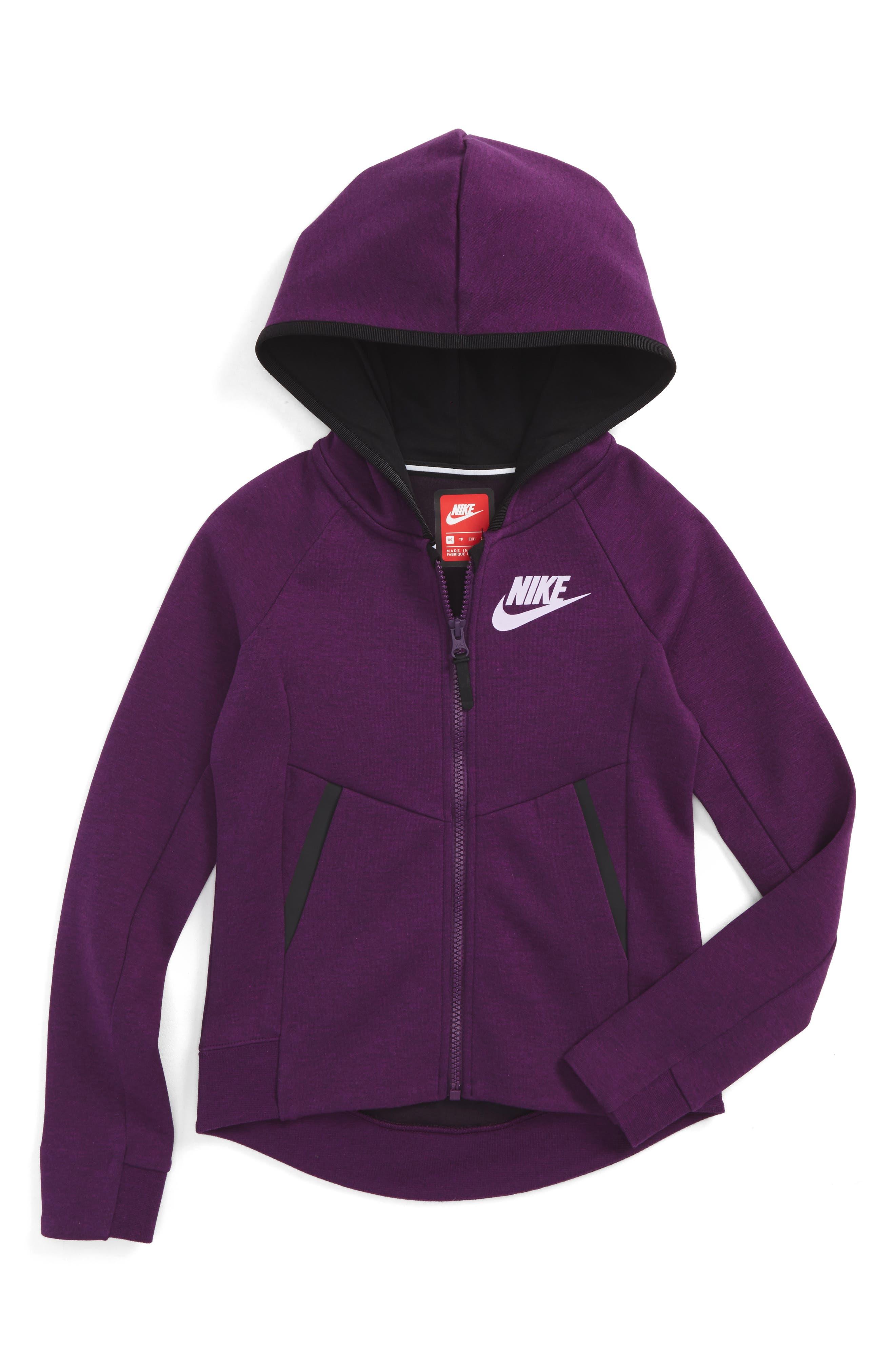 Alternate Image 1 Selected - Nike Sportswear Tech Fleece Hoodie (Big Girls)