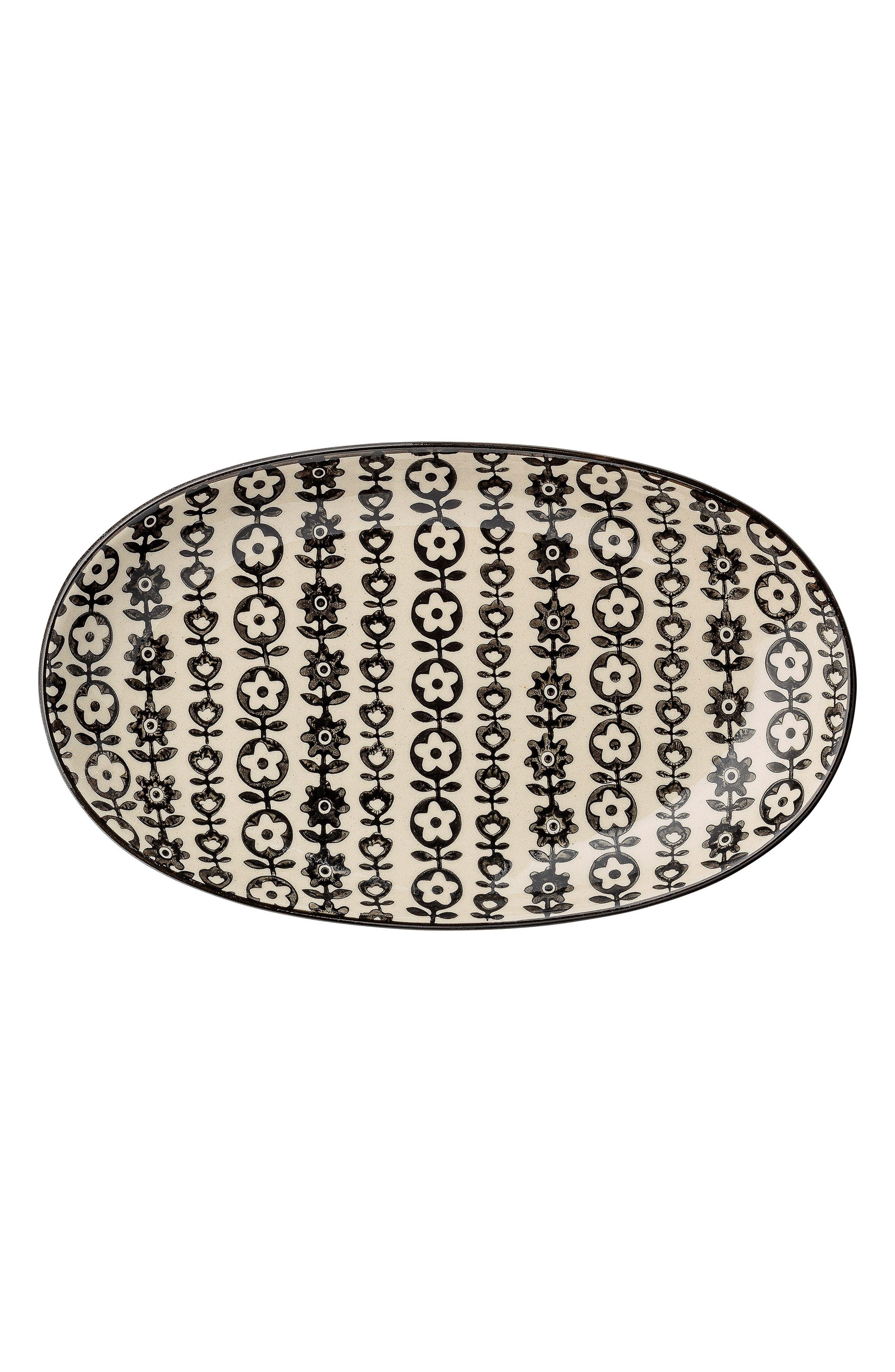 Julie Oval Ceramic Platter,                         Main,                         color, White