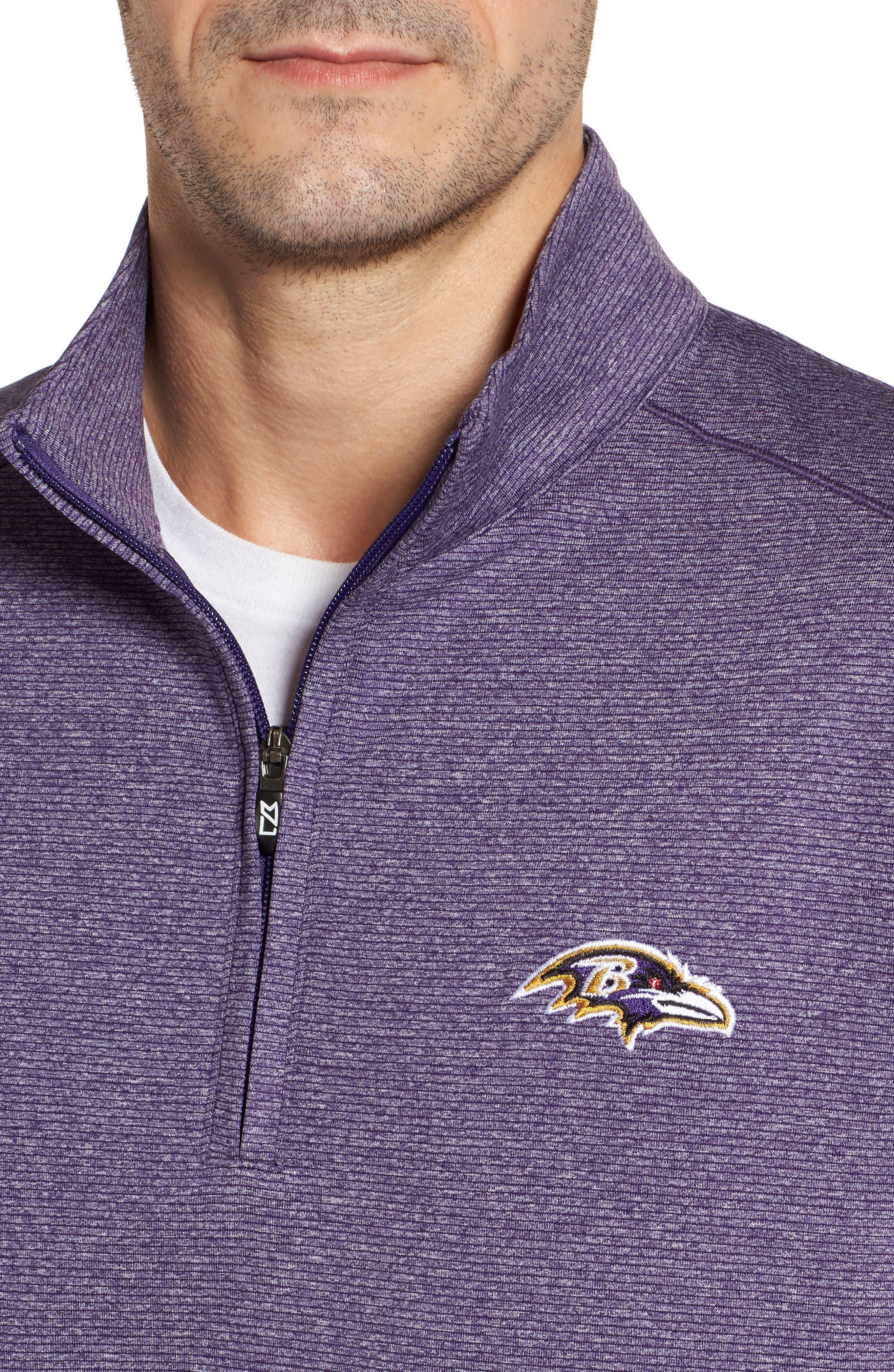 Shoreline - Baltimore Ravens Half Zip Pullover,                             Alternate thumbnail 4, color,                             College Purple Heather