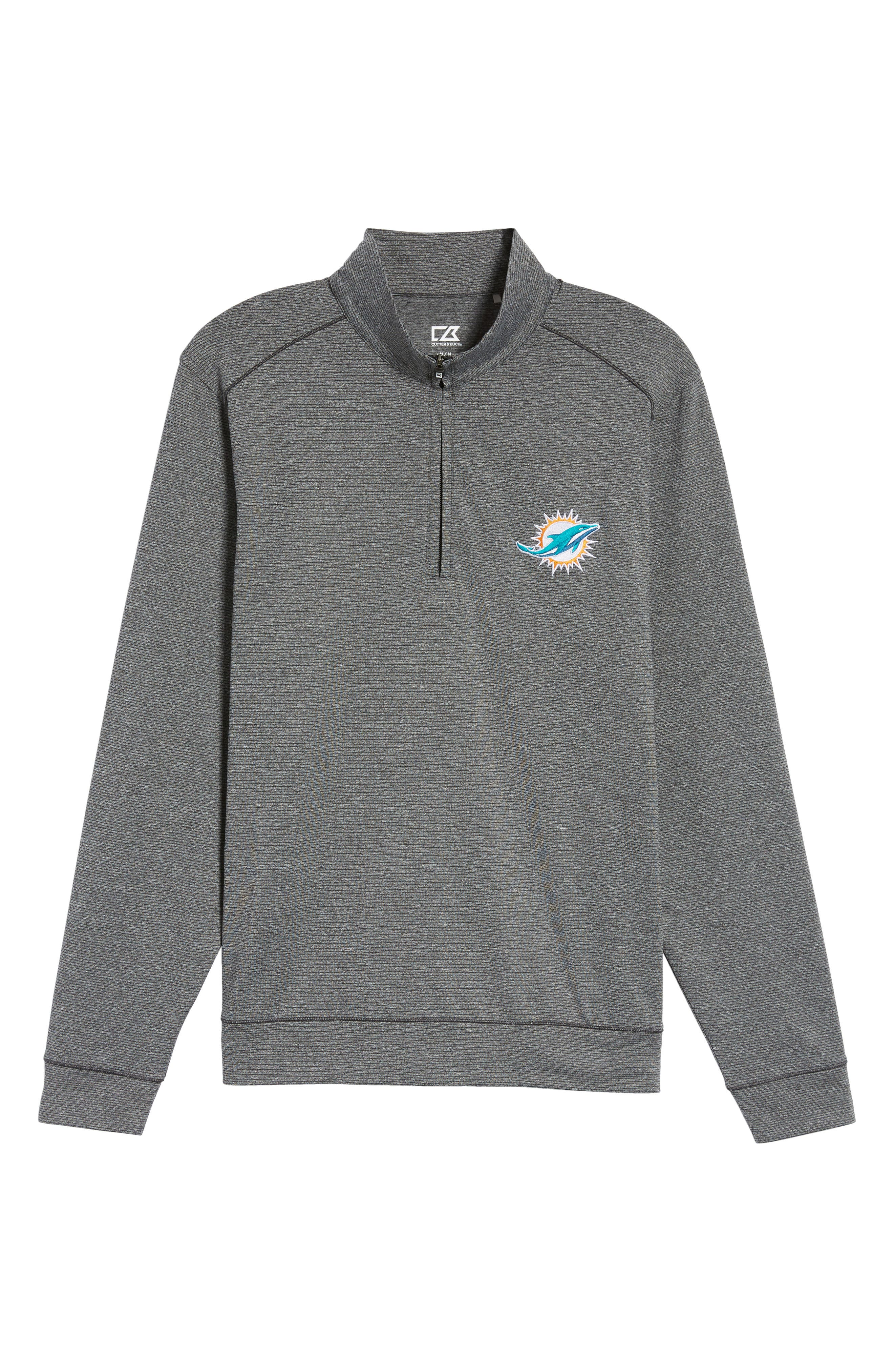 Cutter & Butter Shoreline - Miami Dolphins Half Zip Pullover,                             Alternate thumbnail 6, color,                             Charcoal Heather