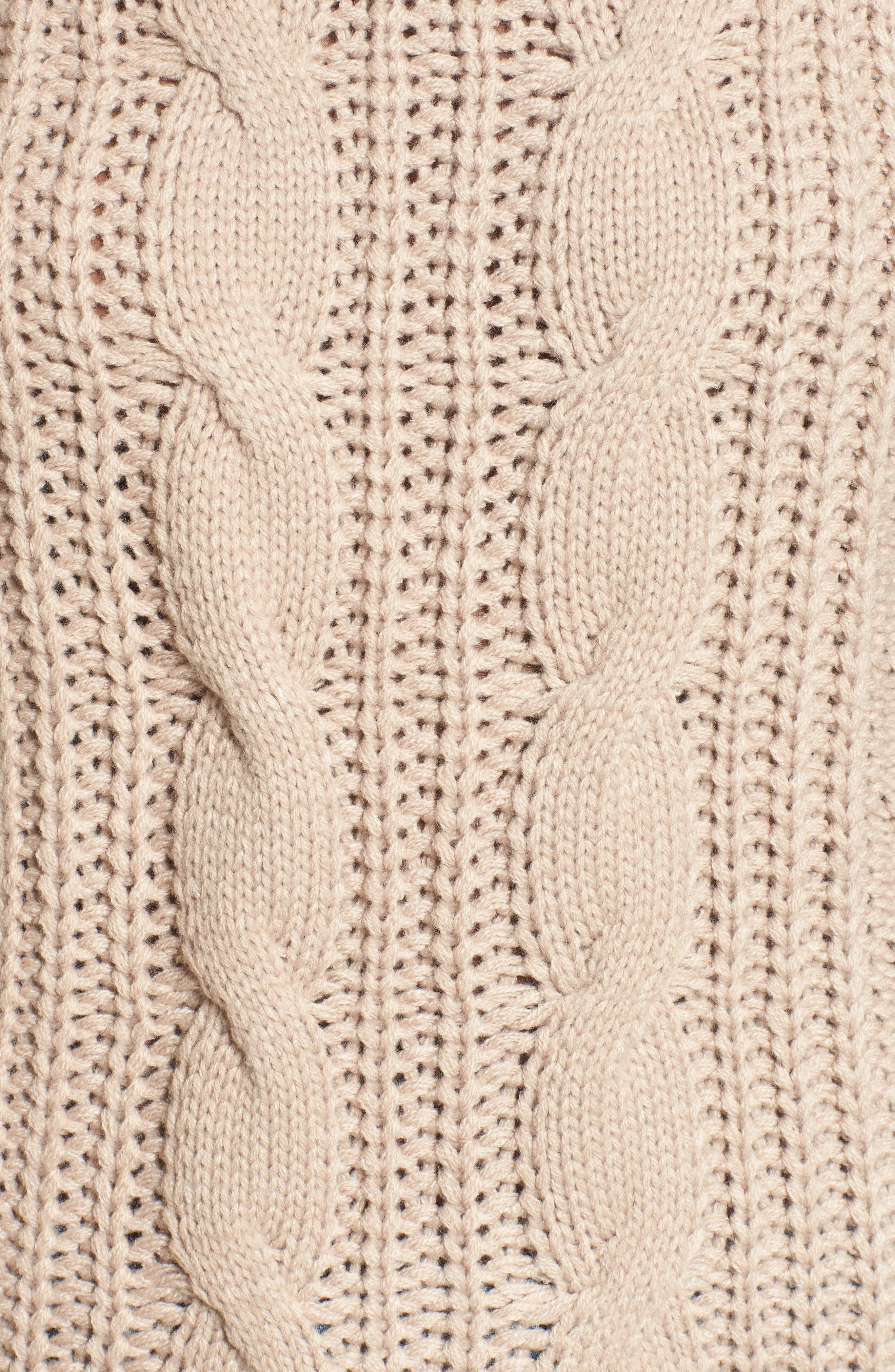 Distressed Cable Knit Sweater,                             Alternate thumbnail 5, color,                             Mocha